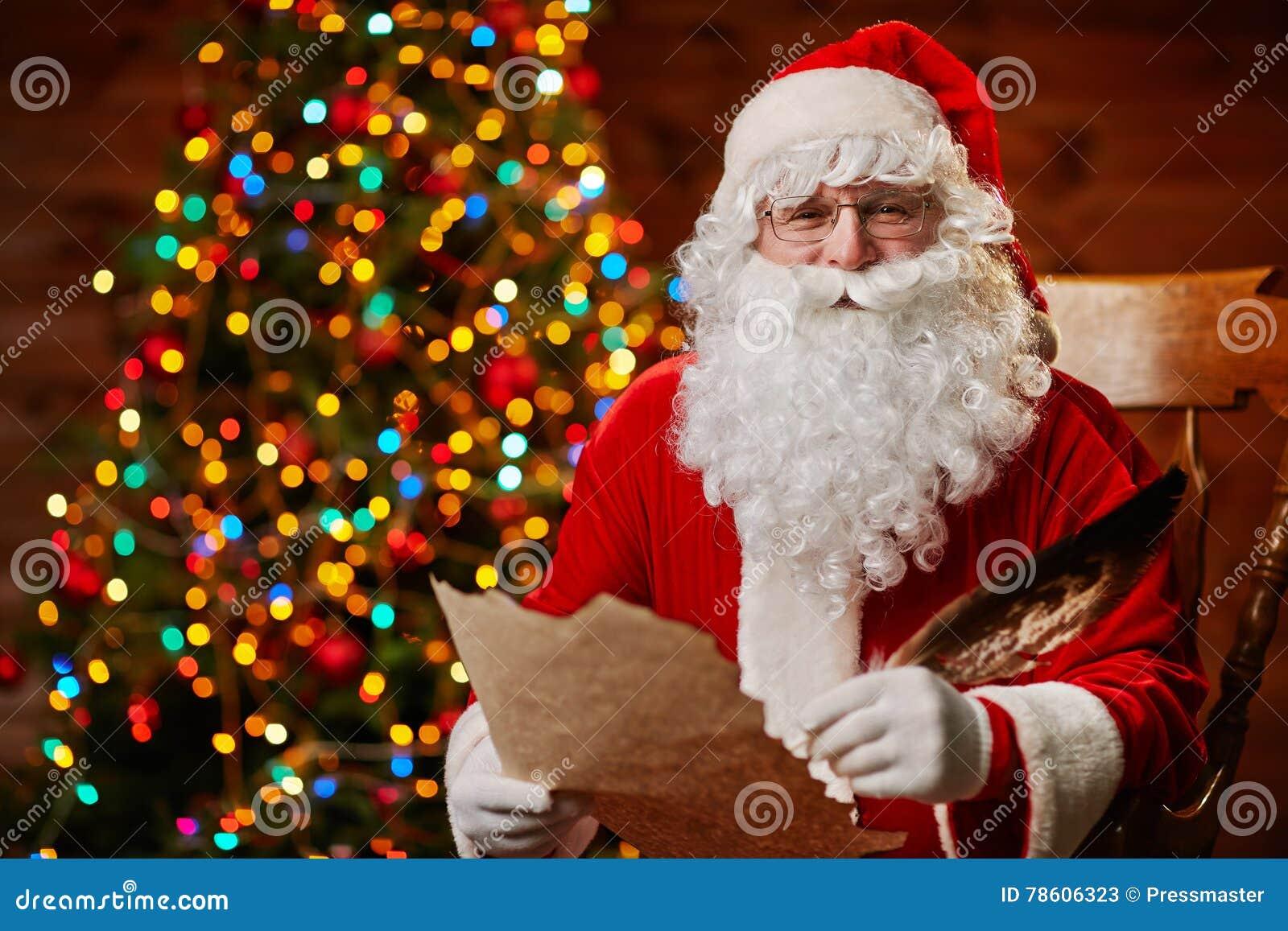 Kerstman met wensen