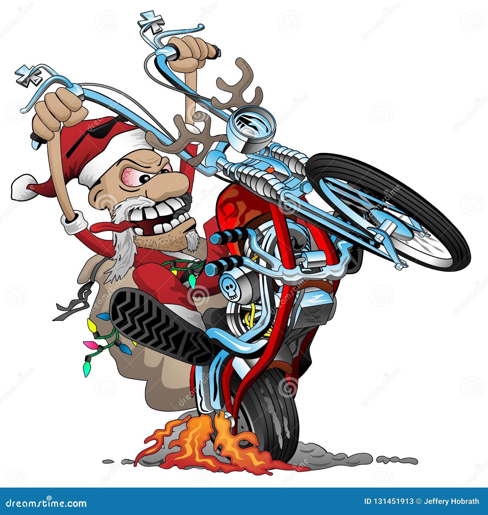 Kerstmanfietser op een Amerikaanse motorfiets van de stijlbijl, die een wheelie, vectorbeeldverhaalillustratie knallen