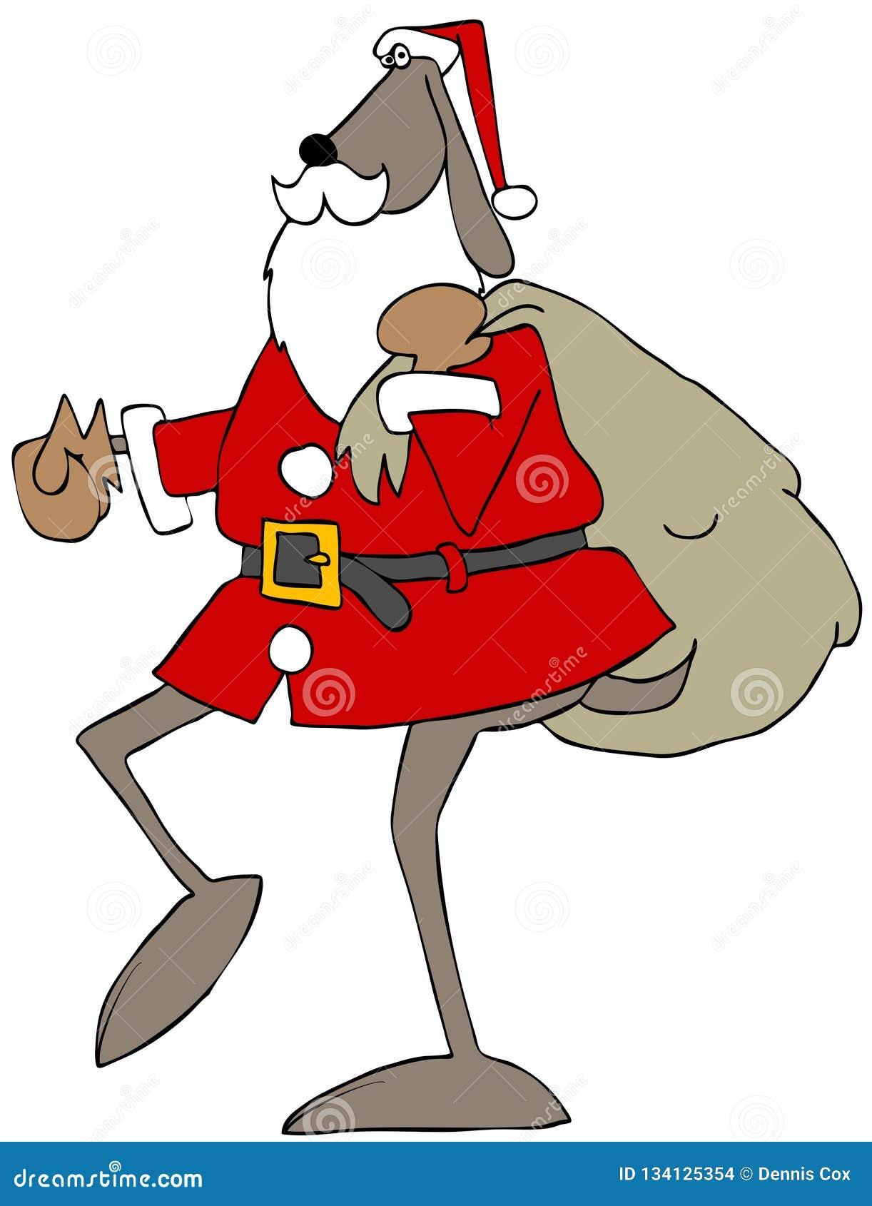 Kerstmanhond die een giftzak dragen