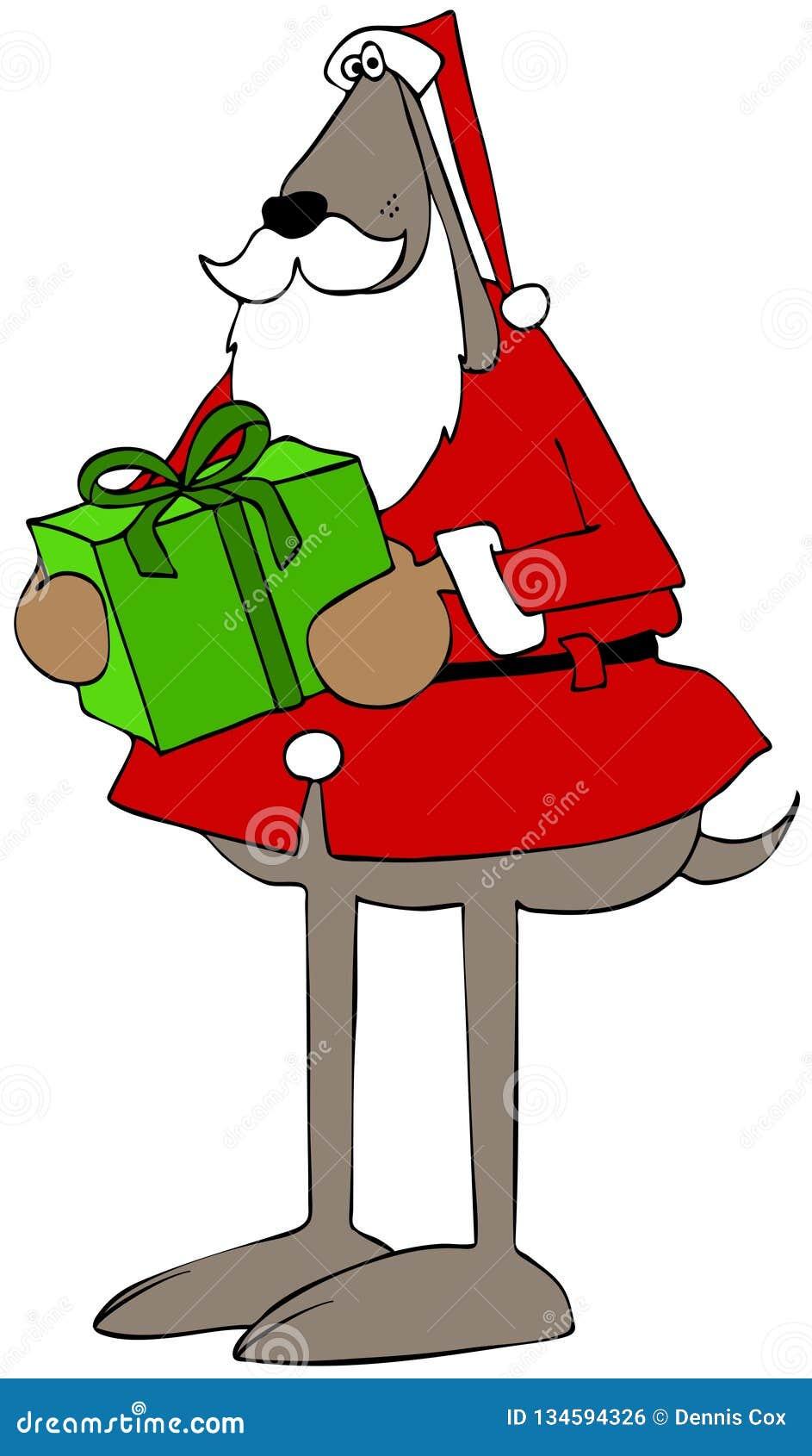 Kerstmanhond die een verpakt pakket dragen
