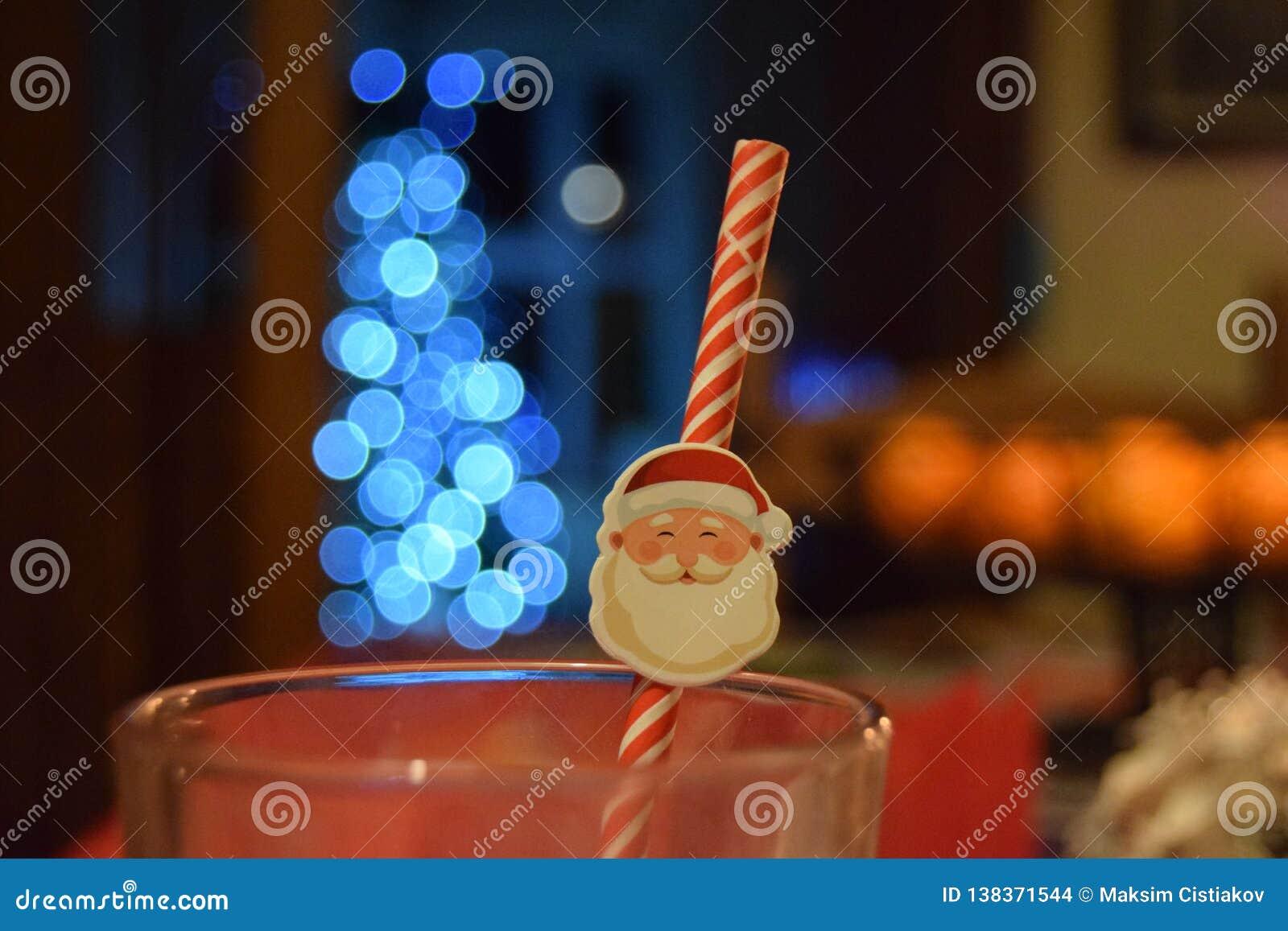 Kerstmanstro in een glas