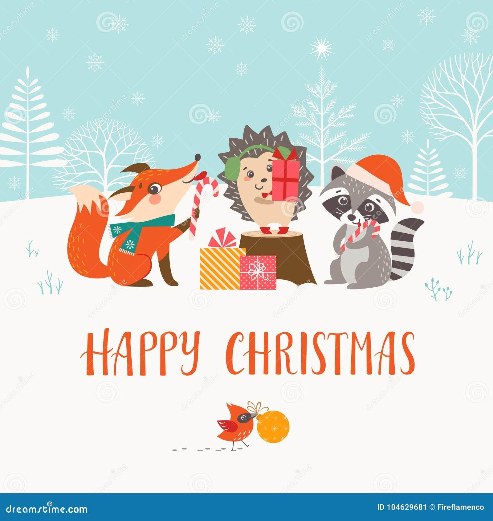 Download Kerstmis Bosvrienden In De Winterbos Vector Illustratie - Illustratie bestaande uit illustratie, kerstmis: 104629681