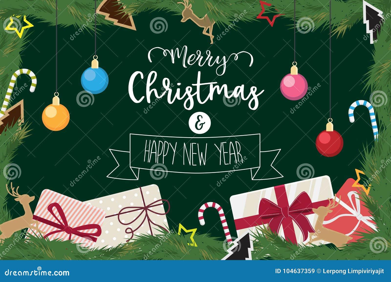 Download Kerstmis En Gelukkige Nieuwe Jaar Verfraaide Balgift Van Pijnboom Vector Illustratie - Illustratie bestaande uit takken, december: 104637359