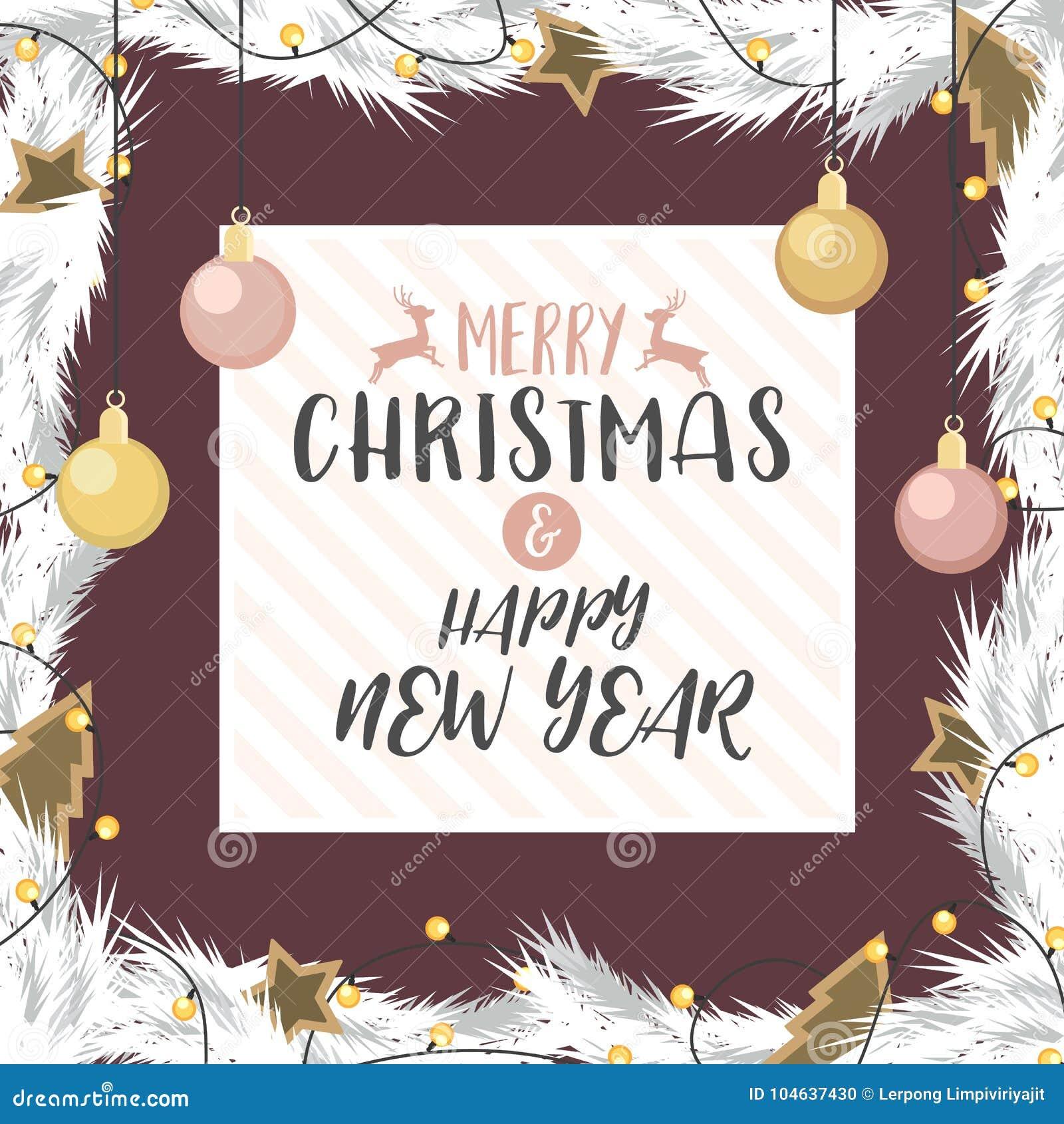 Download Kerstmis En Het Gelukkige Nieuwe Jaargoud En Namen Verfraaid Goud Toe Vector Illustratie - Illustratie bestaande uit ornament, frame: 104637430