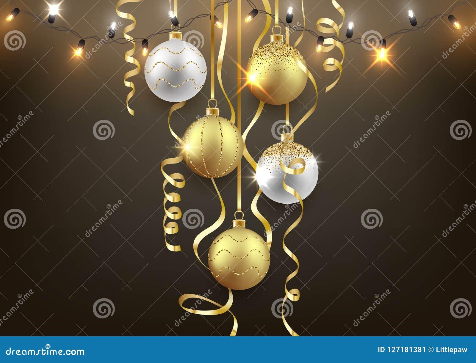 Kerstmis en Nieuwjaar achtergrondontwerp, decoratieve ballen