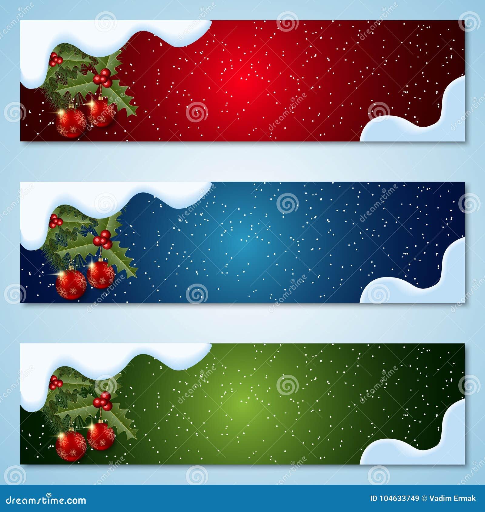 Download Kerstmis En Nieuwjaar Vectorbanners Vector Illustratie - Illustratie bestaande uit decoratief, horizontaal: 104633749
