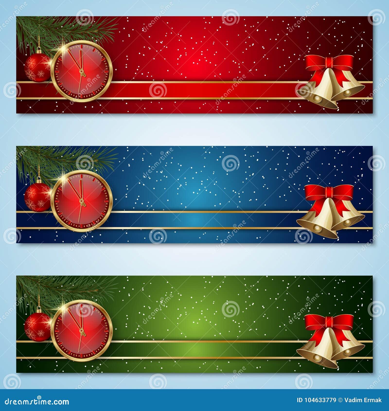 Download Kerstmis En Nieuwjaar Vectorbanners Vector Illustratie - Illustratie bestaande uit kerstmis, banner: 104633779