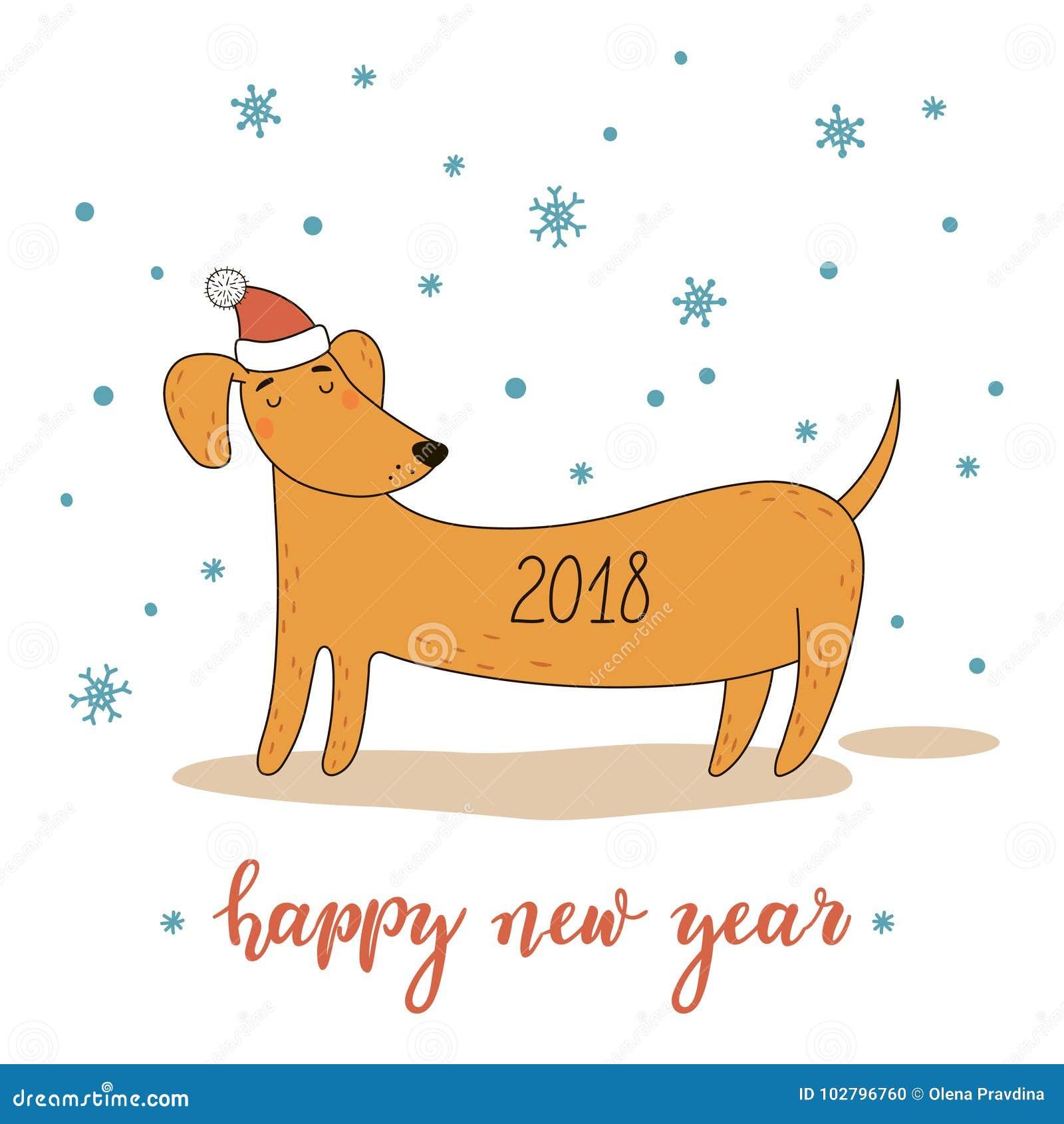 Kerstmis en Nieuwjaargroetkaart met leuke beeldverhaaltekkel Vector illustratie