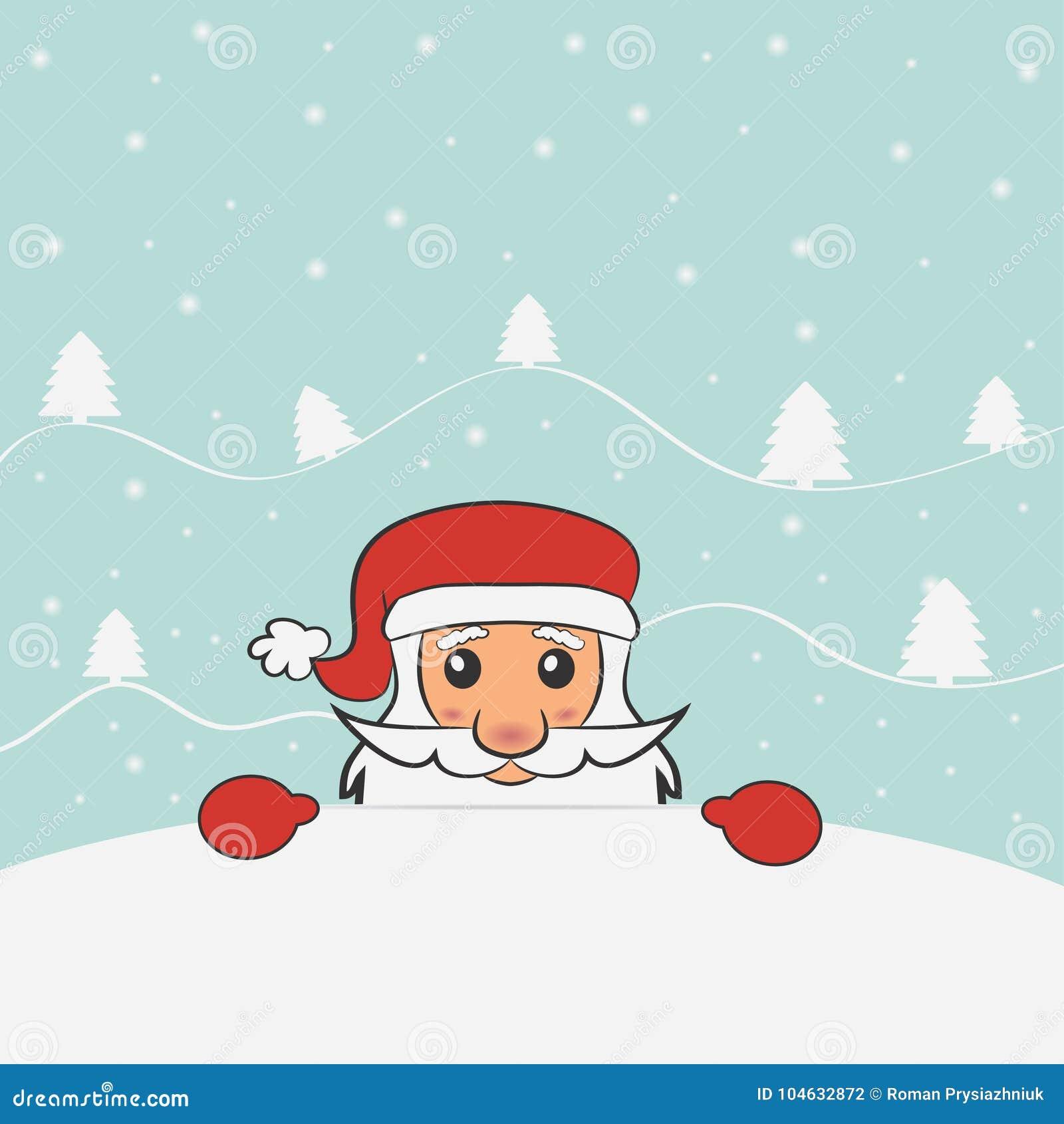 Download Kerstmis En Nieuwjaarskaart Met De Kerstman Vector Illustratie Vector Illustratie - Illustratie bestaande uit illustratie, decoratie: 104632872