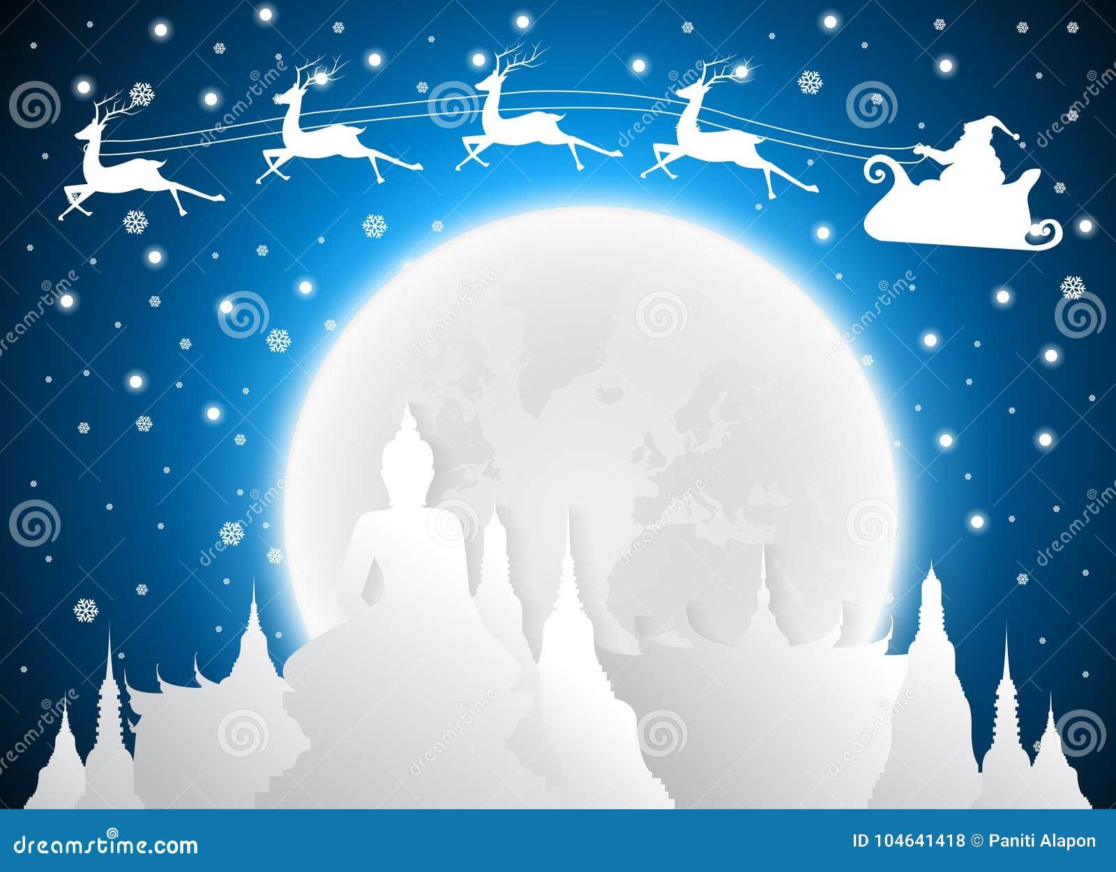 Download Kerstmis En Santa In De Oriëntatiepunten Van Tempelthailand En Silhouet, Volle Maan Vector Illustratie - Illustratie bestaande uit schoonheid, nave: 104641418