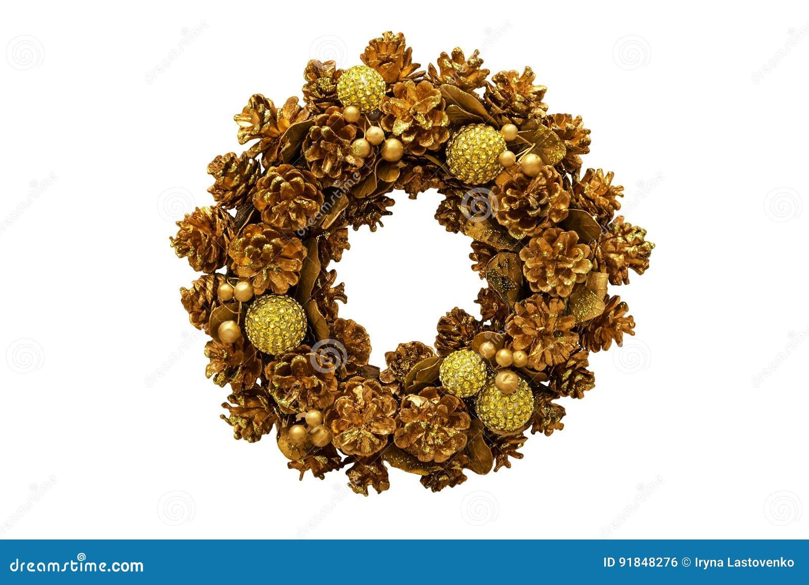 Kerstmis gouden kroon Nieuw jaar Geïsoleerde