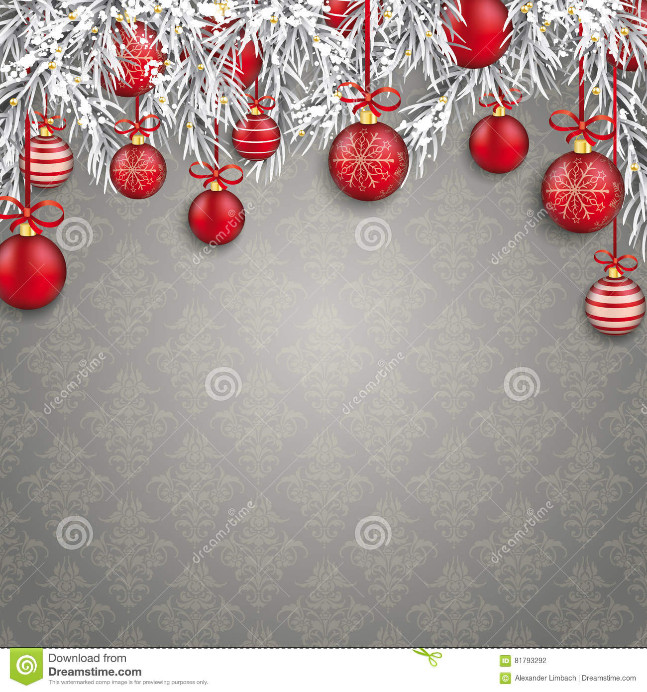 Kerstmis Gray Ornaments Red Baubles Twigs