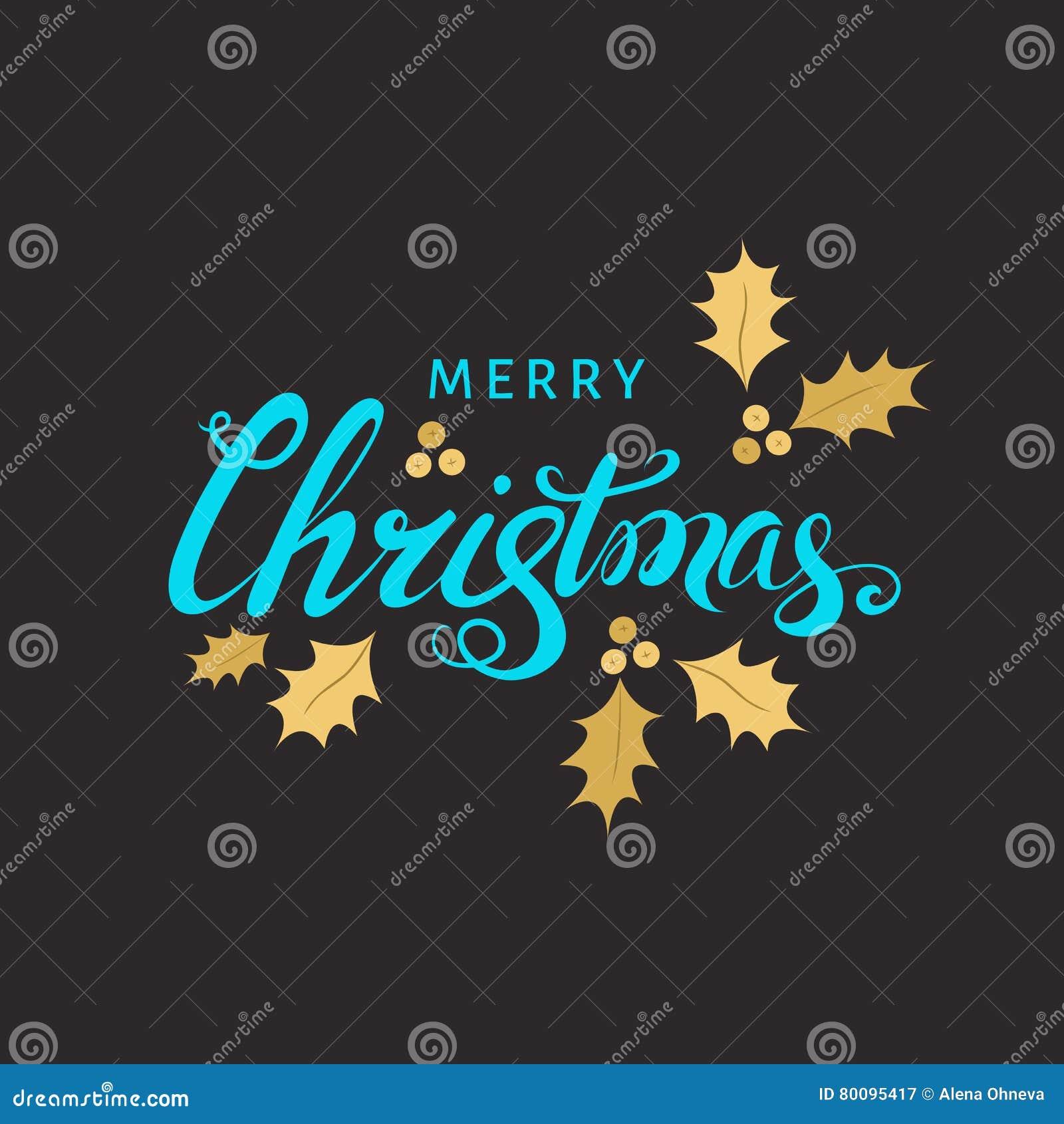 Kerstmis het van letters voorzien met gouden takje van hulst op zwarte