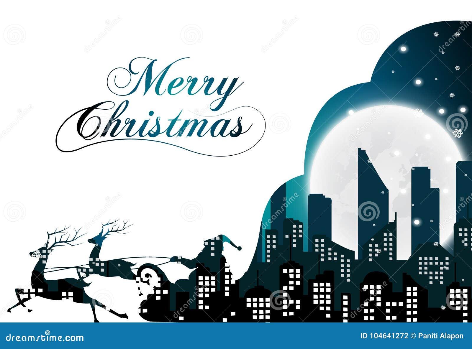 Download Kerstmis Met Santa Silhouette Van De Stad En De Nacht Vector Illustratie - Illustratie bestaande uit concept, horizon: 104641272
