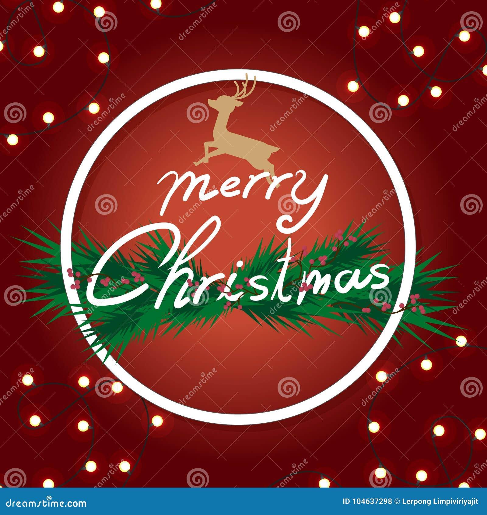 Download Kerstmis Met Verfraaid Van Pijnboomtakken In Achtergrondrood Vector Illustratie - Illustratie bestaande uit vooravond, neon: 104637298