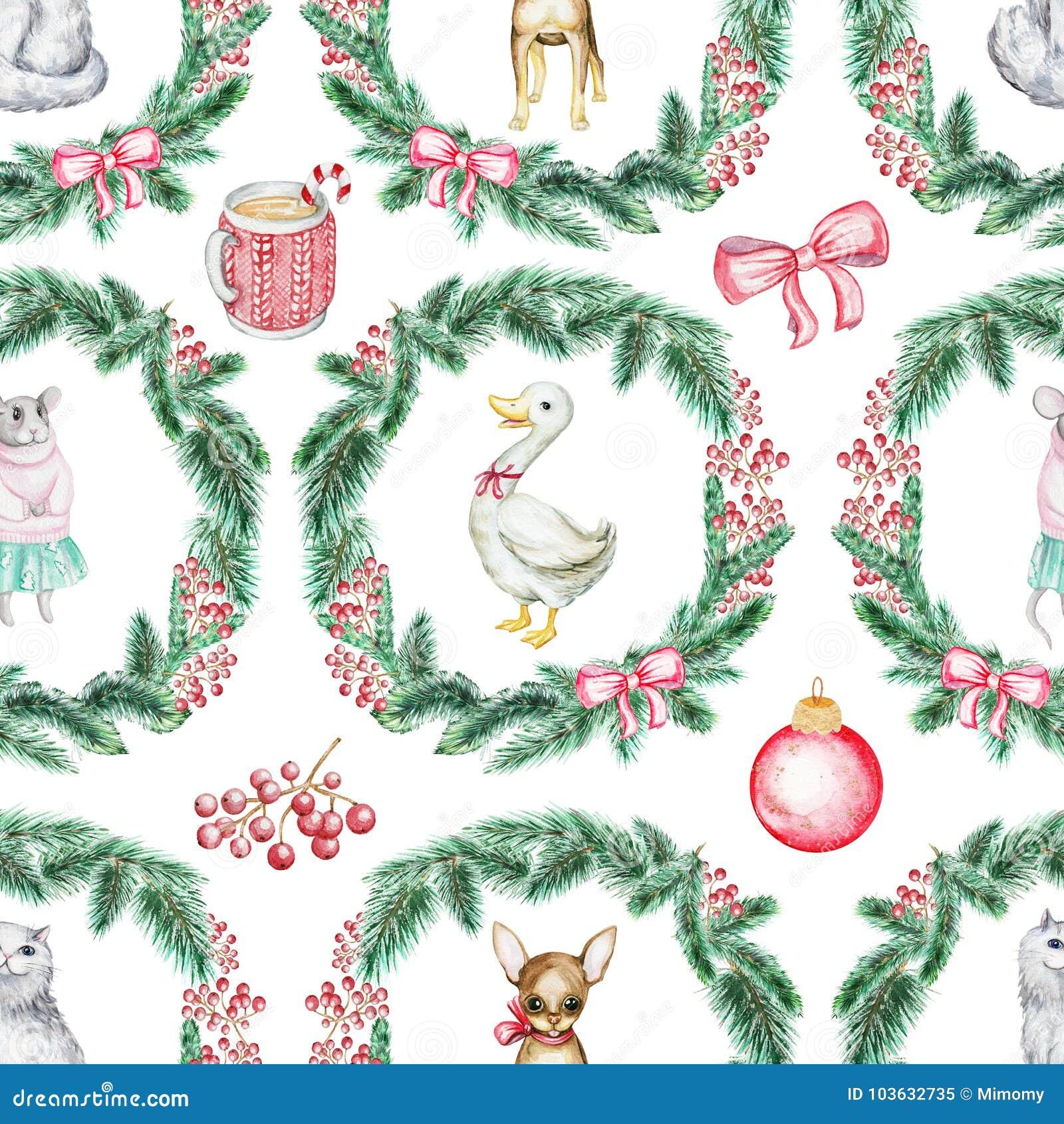 Kerstmis naadloos patroon als achtergrond met huisdieren