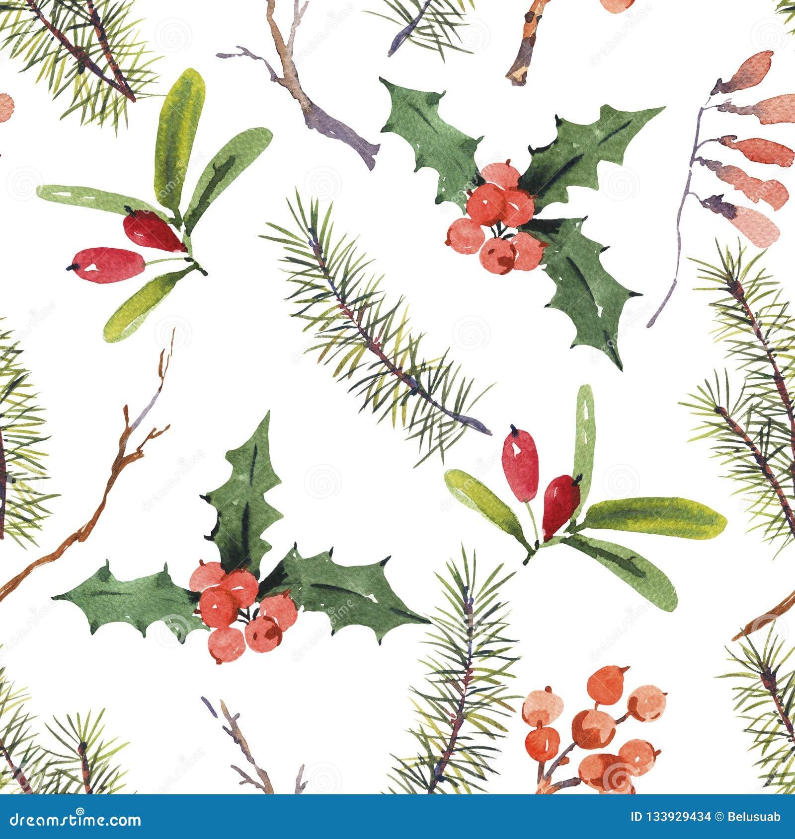 Kerstmis naadloos patroon van de de winterwaterverf met boomtakken
