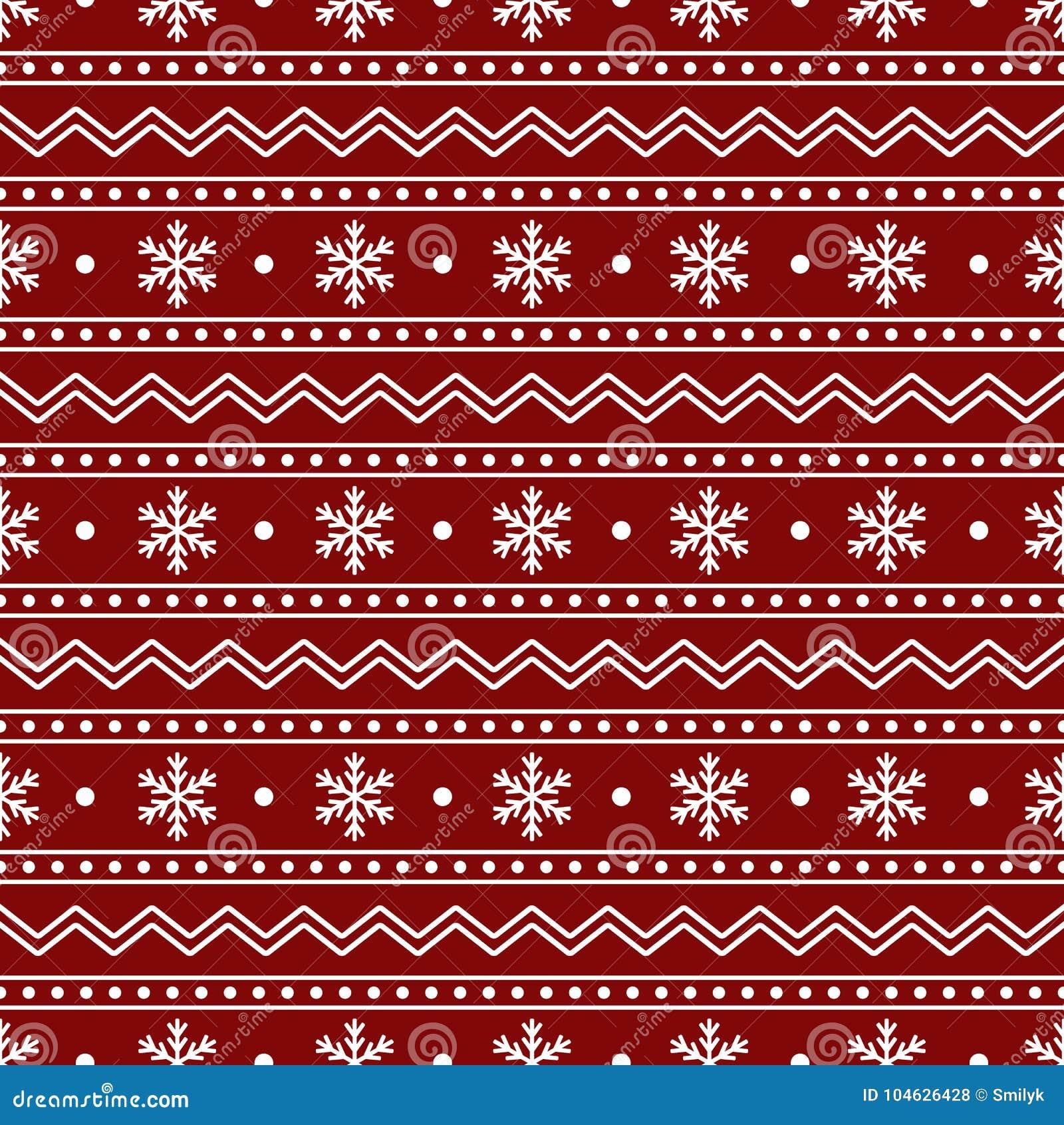 Download Kerstmis Naadloos Patroon Van Witte Sneeuwvlokken En Lijnen Op Rood Vector Illustratie - Illustratie bestaande uit christmastime, sneeuwvlok: 104626428