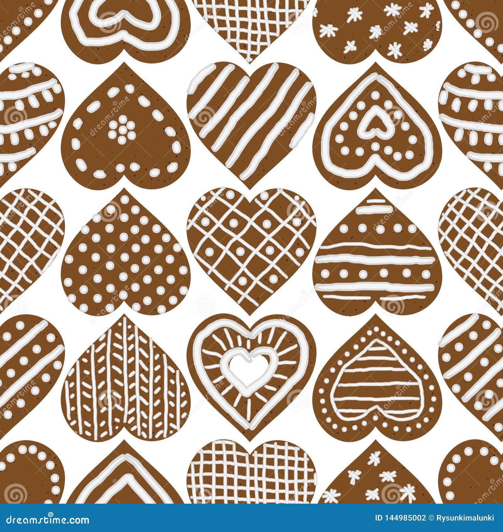 Kerstmis naadloos vectorpatroon met de bevroren koekjes van het peperkoekhart
