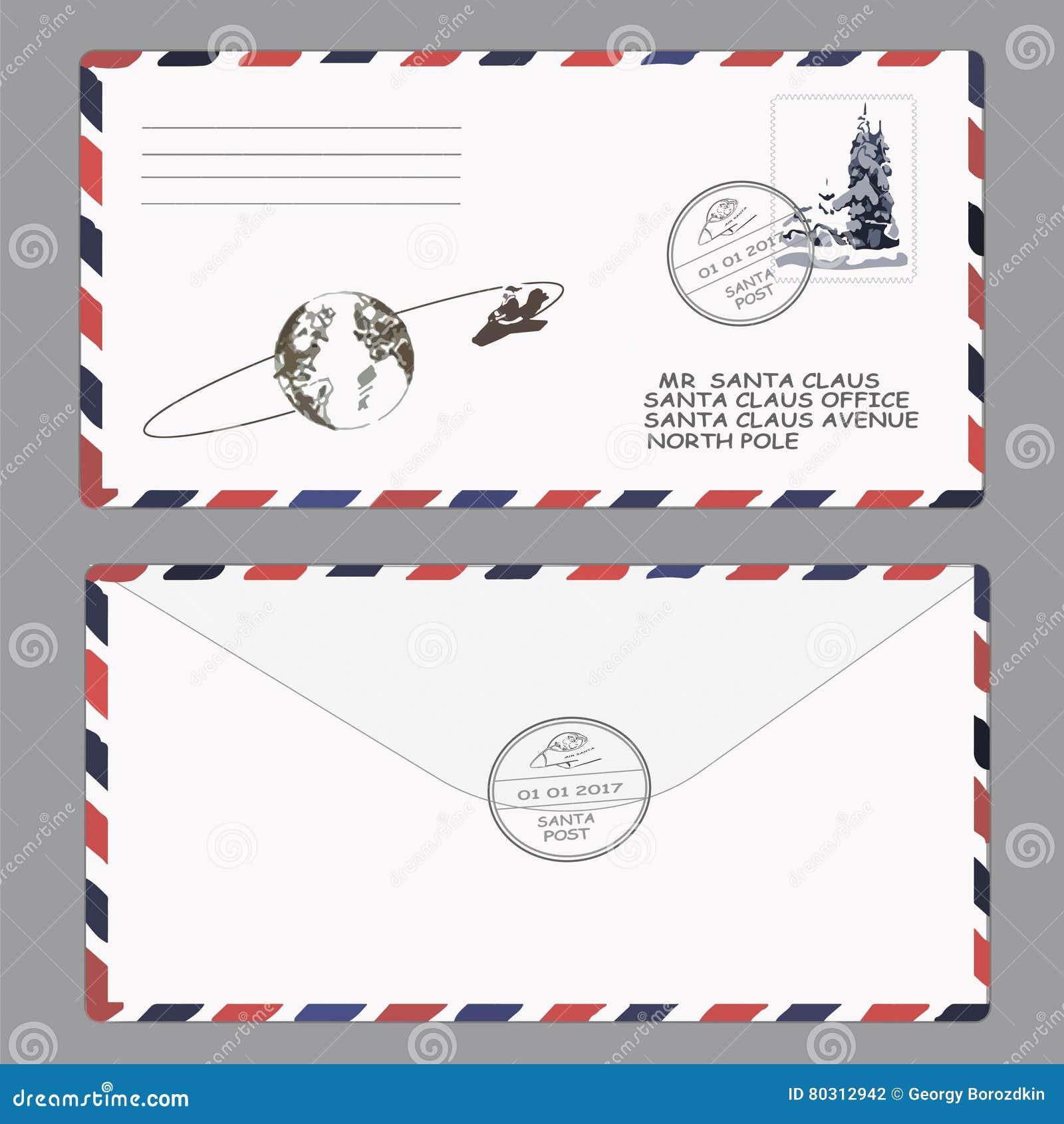 Kerstmis, Nieuwjaar Brief aan de Kerstman malplaatje, envelop, zegel Vector