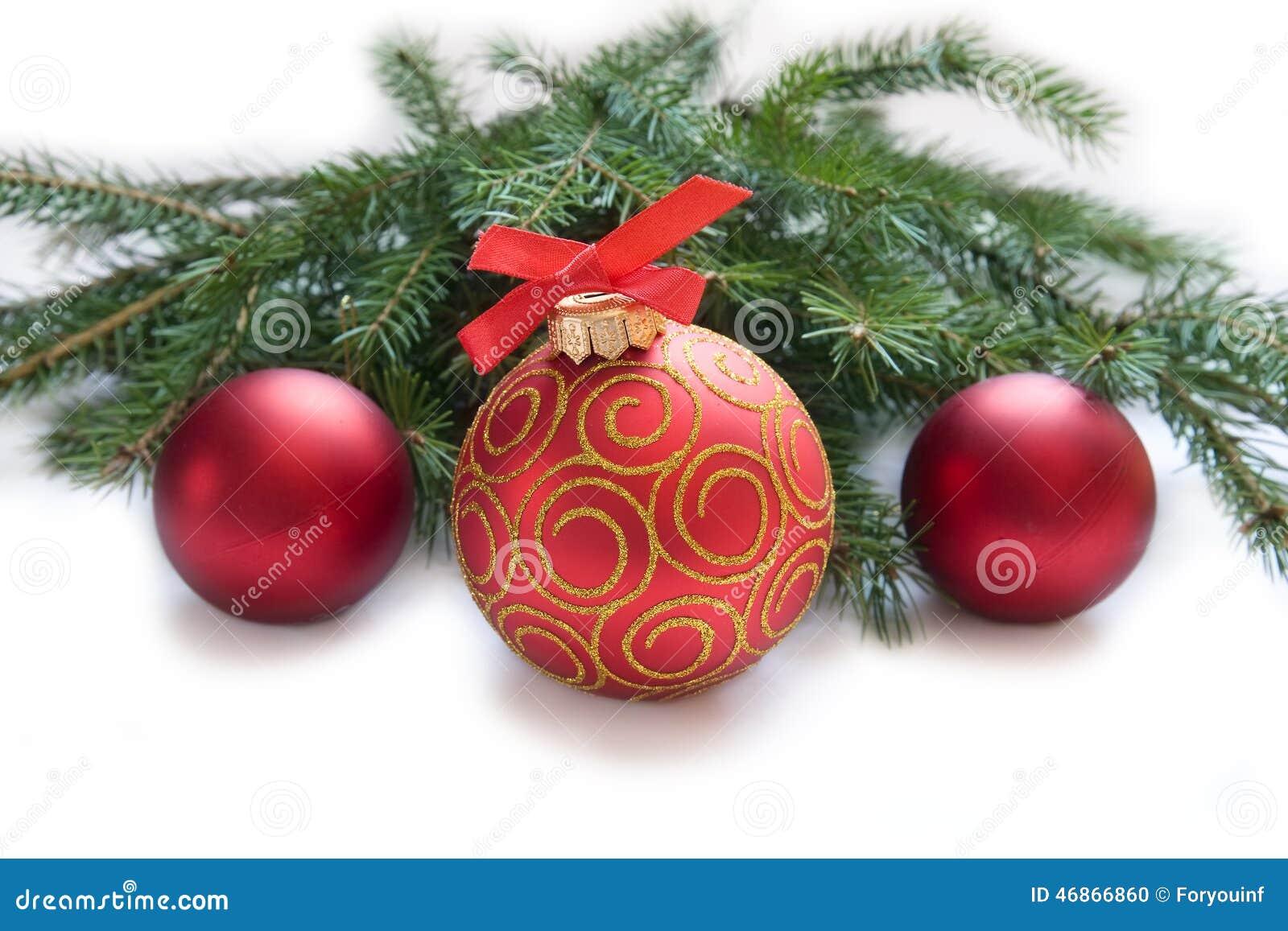 Kerstmis rode bal, takje van spar stock foto   afbeelding: 46866860