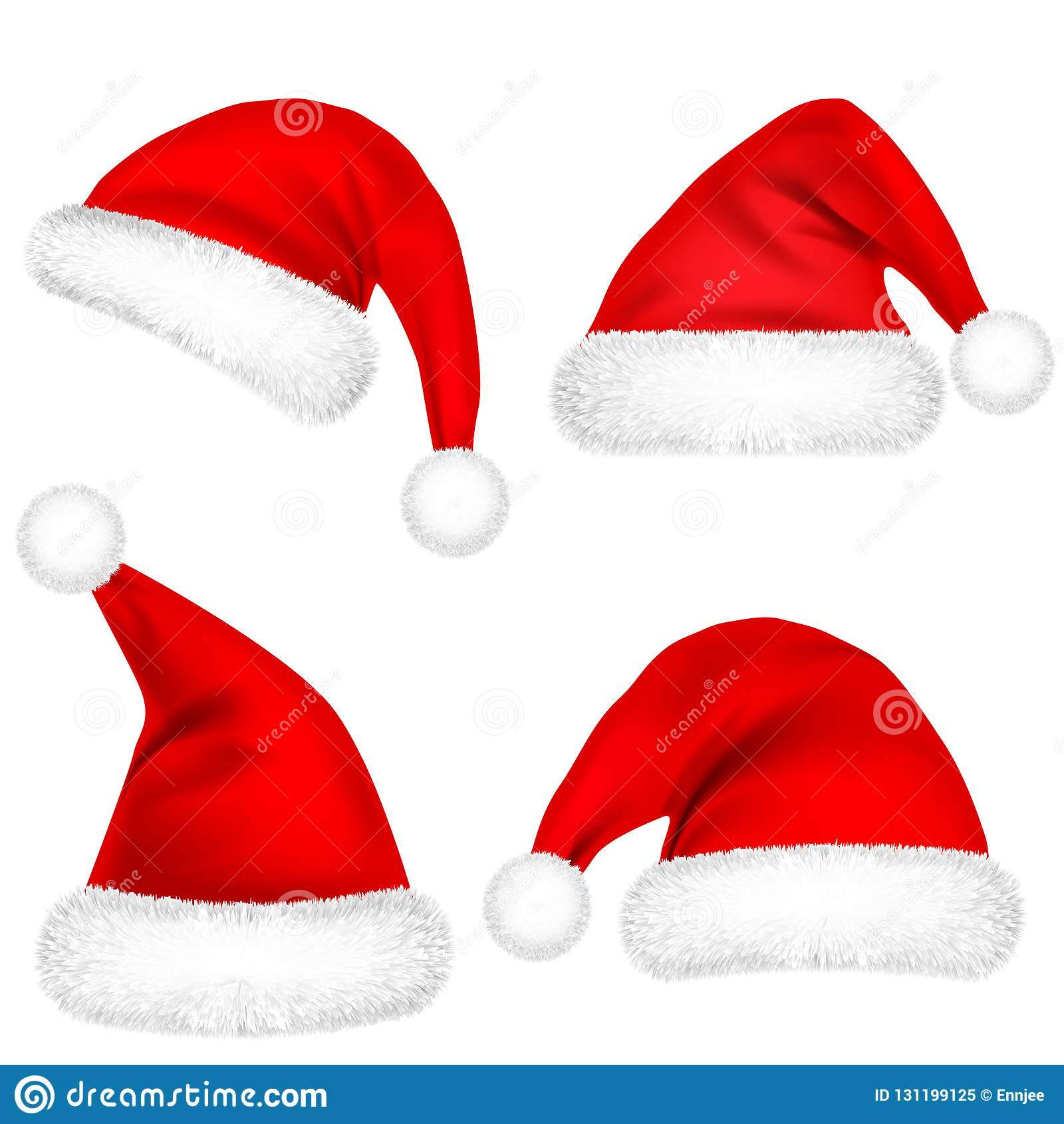 Kerstmis Santa Claus Hats With Fur Set Nieuwe jaar rode die hoed op witte achtergrond wordt geïsoleerd De winter GLB Vector illus