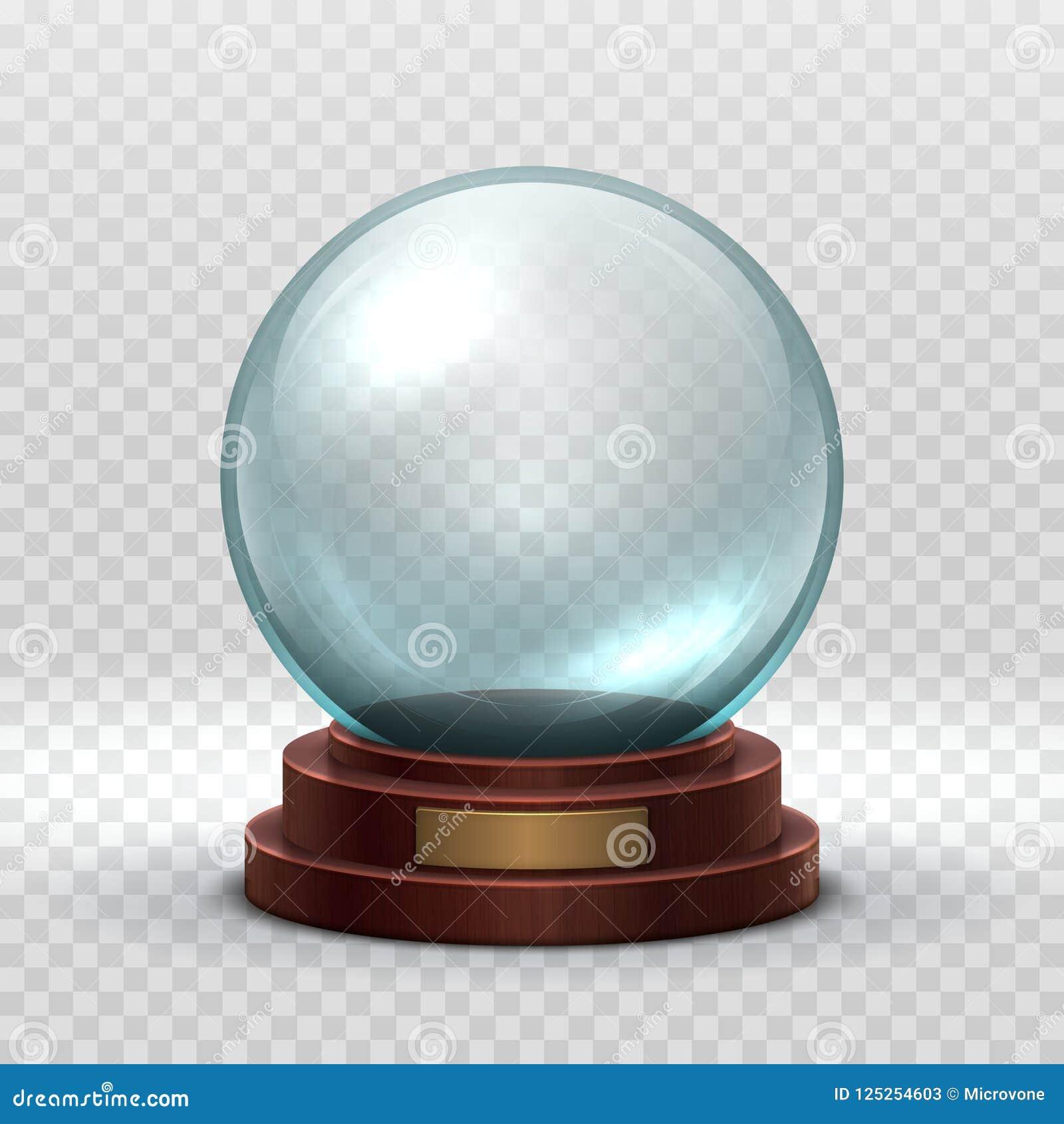 Kerstmis Snowglobe De lege bal van het kristalglas Het magische van de de sneeuwbal van de Kerstmisvakantie vector geïsoleerde mo