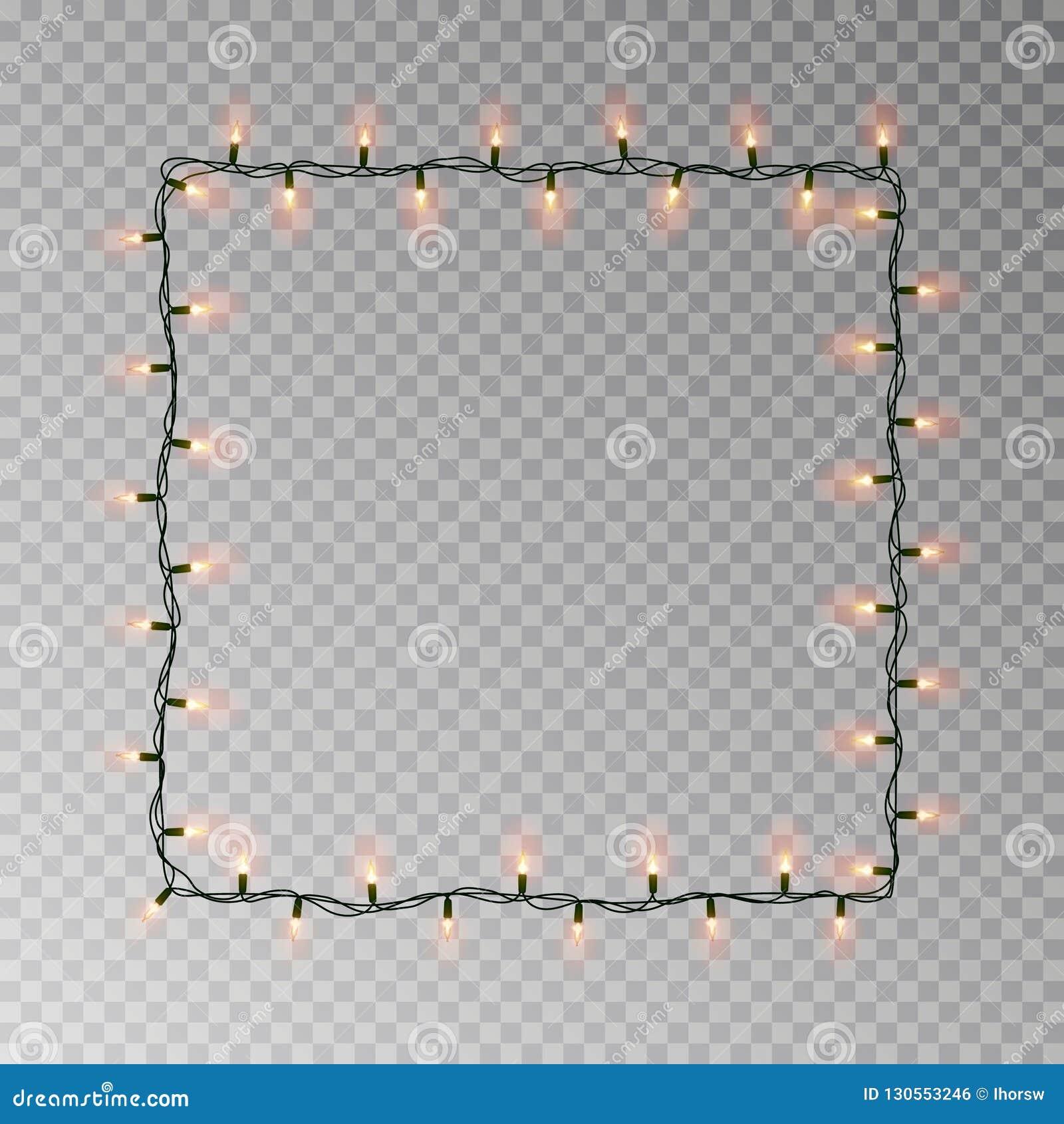 Kerstmis steekt vierkant vector, licht die koordkader aan op donkere achtergrond met exemplaarruimte wordt geïsoleerd tran