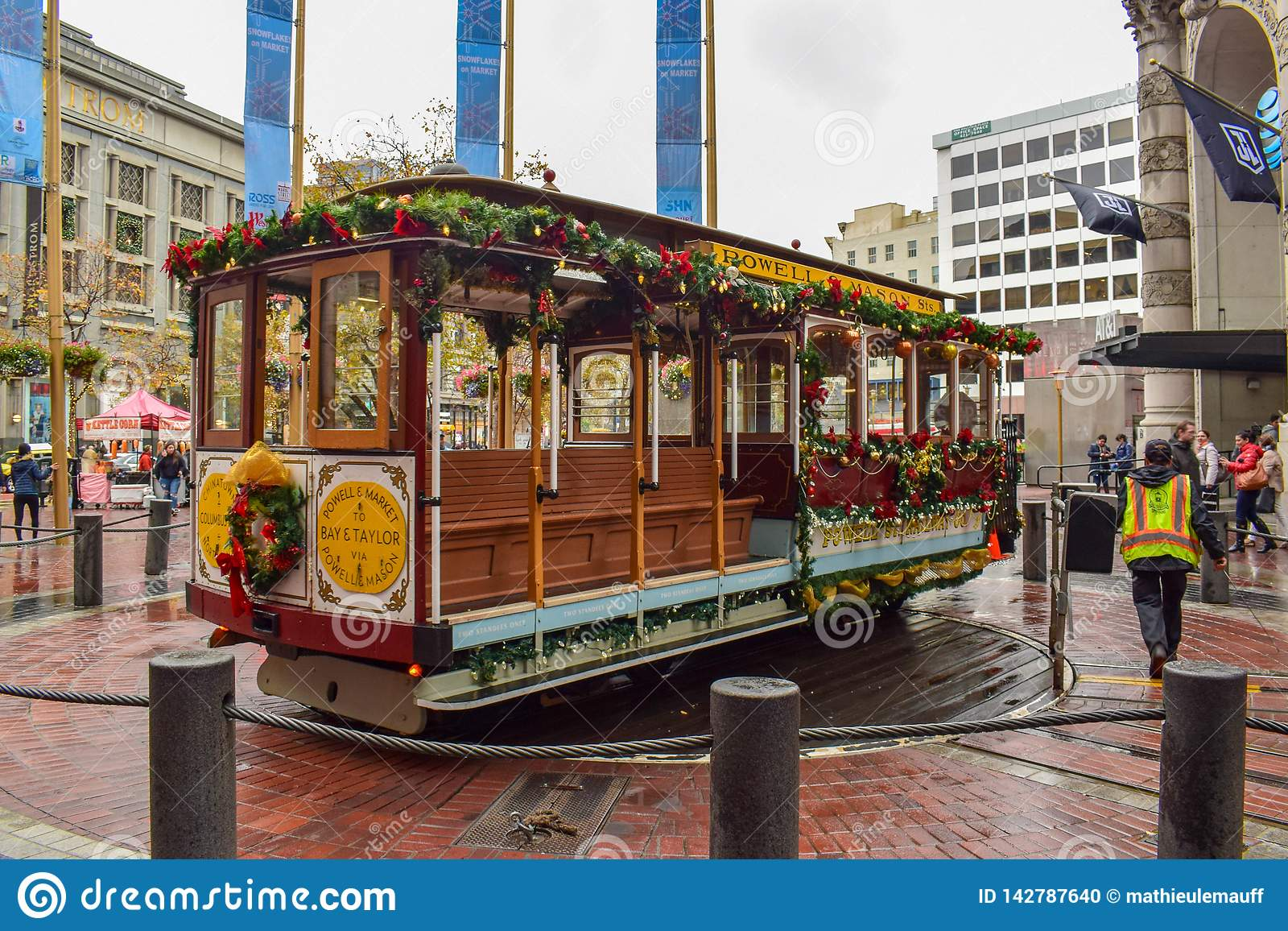 Kerstmis Verfraaid San Francisco Historical Cable Car
