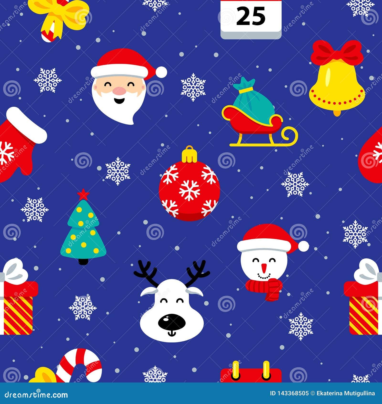 Kerstmis vlak naadloos patroon