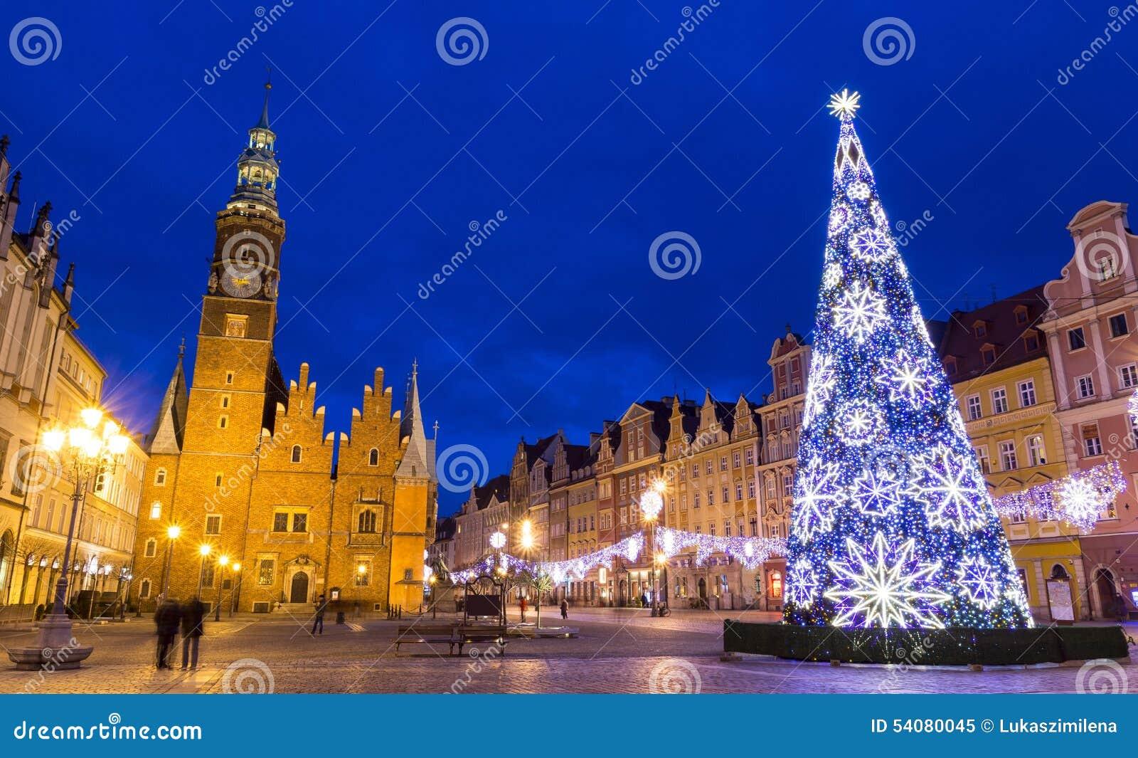 Kerstmis in Wroclaw bij nacht, Polen