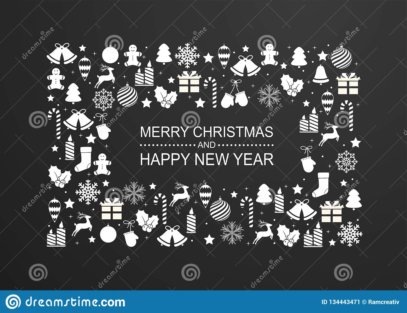 Kerstmisachtergrond met kader van de witte decoratie van de de wintervakantie De gelukkige kaart van de Nieuwjaargroet