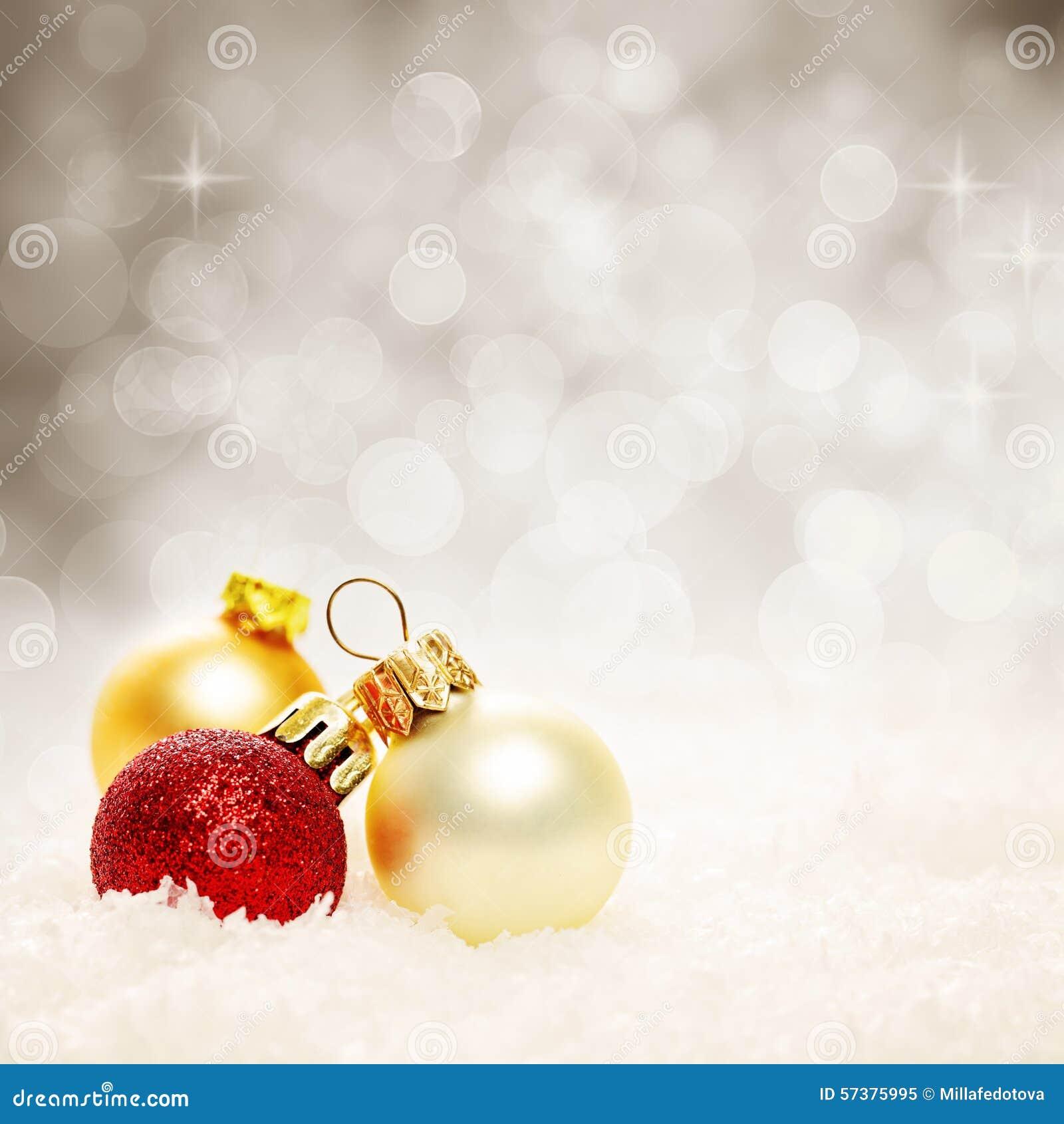 Kerstmisballen en Sneeuwvlok Abstracte Kerstmisachtergrond