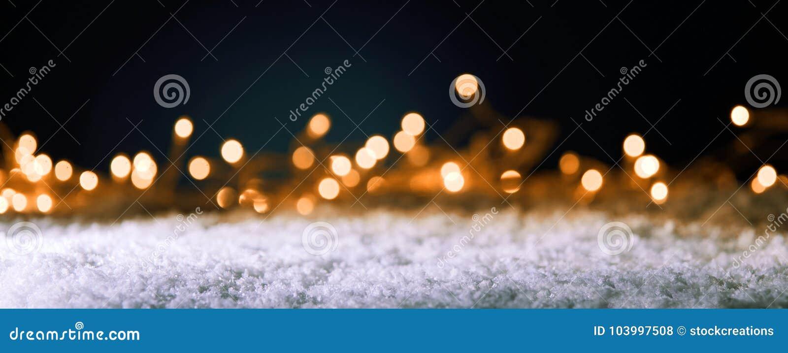Kerstmisbanner met gouden partijlichten