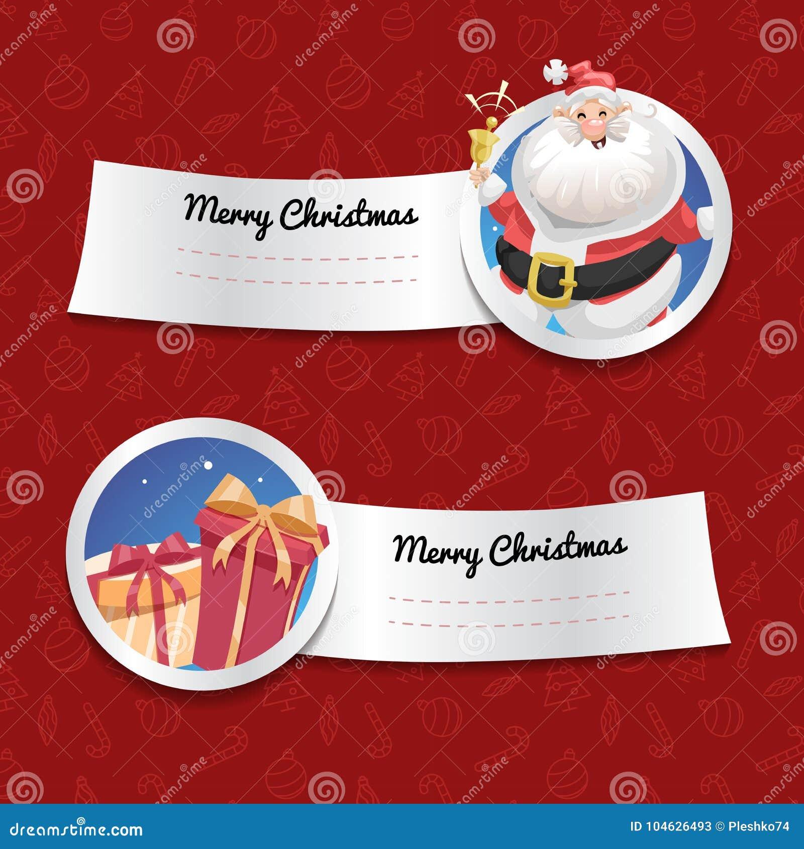 Download Kerstmisbanners Op Rode Achtergrond Met Kerstmissymbolen Lachende Santa Claus Met Klok En Giftdozen Vector Illustratie - Illustratie bestaande uit vreugde, kaart: 104626493