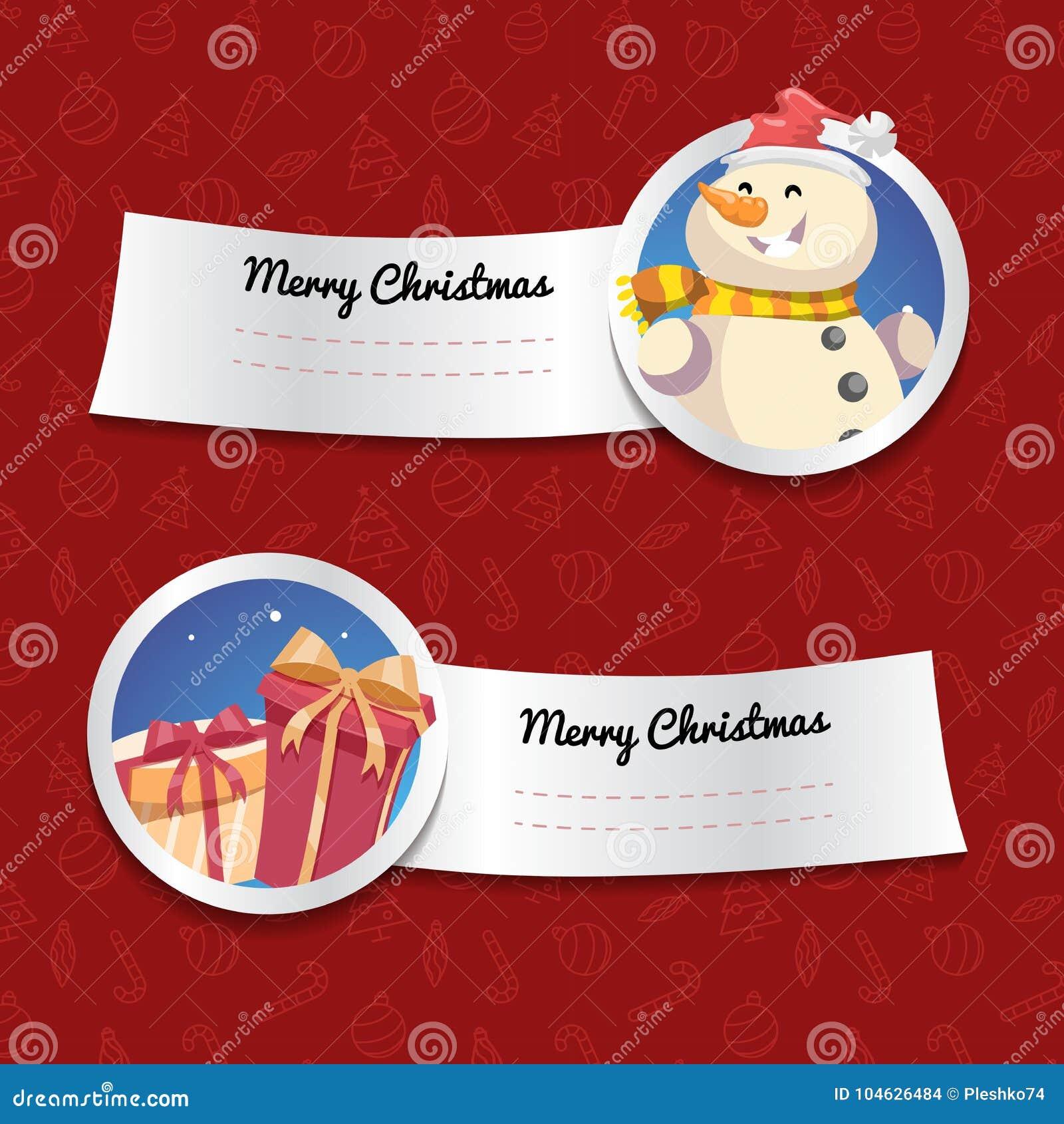 Download Kerstmisbanners Op Rode Achtergrond Met Kerstmissymbolen Lachende Sneeuwman En Giftdozen Vector Illustratie - Illustratie bestaande uit grafisch, banners: 104626484
