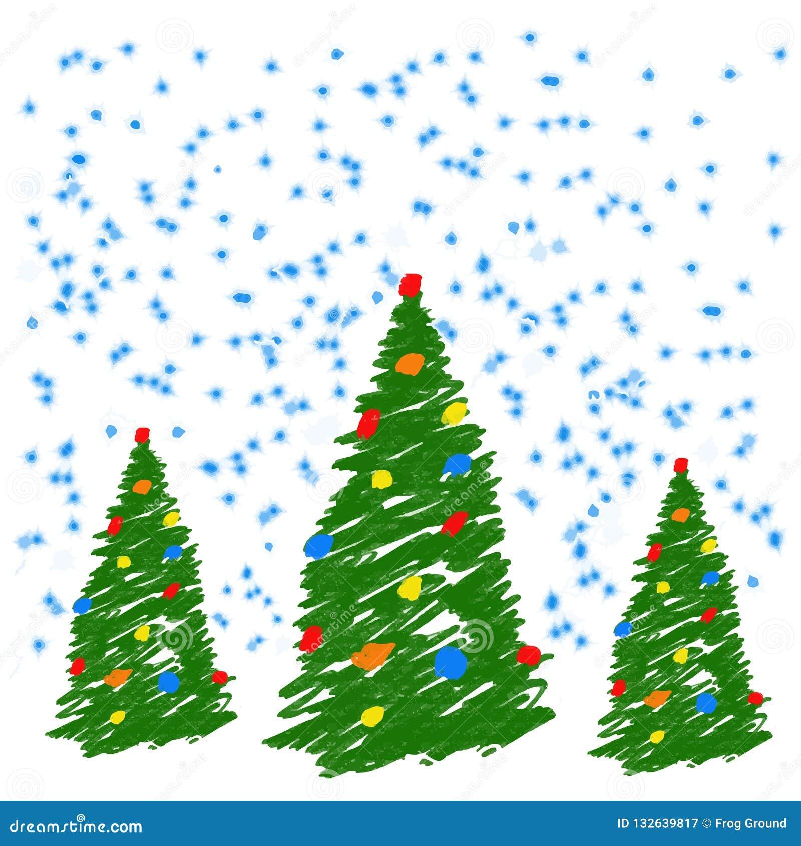 Kerstmisboom van de handtekening met ballen Als de tekeningskleurpotlood van het kind of potlood heldergroene spar Als jonge geit