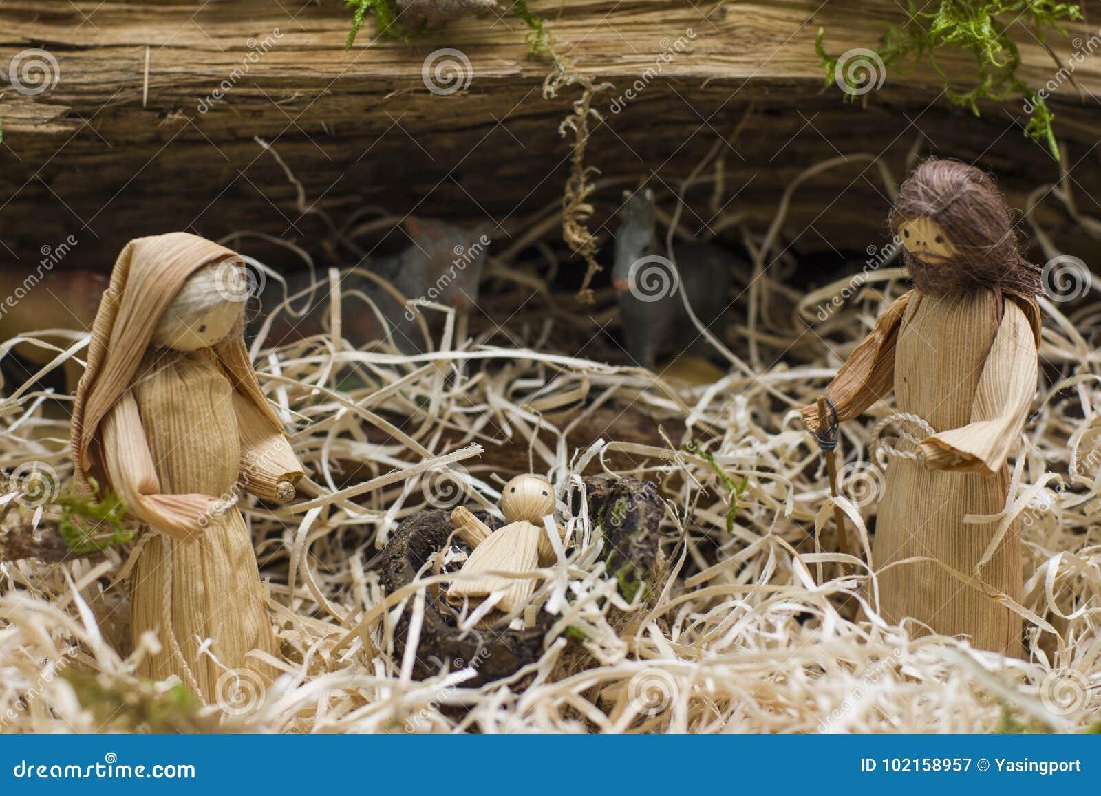 Kerstmiscrèche met Joseph Mary en Jesus