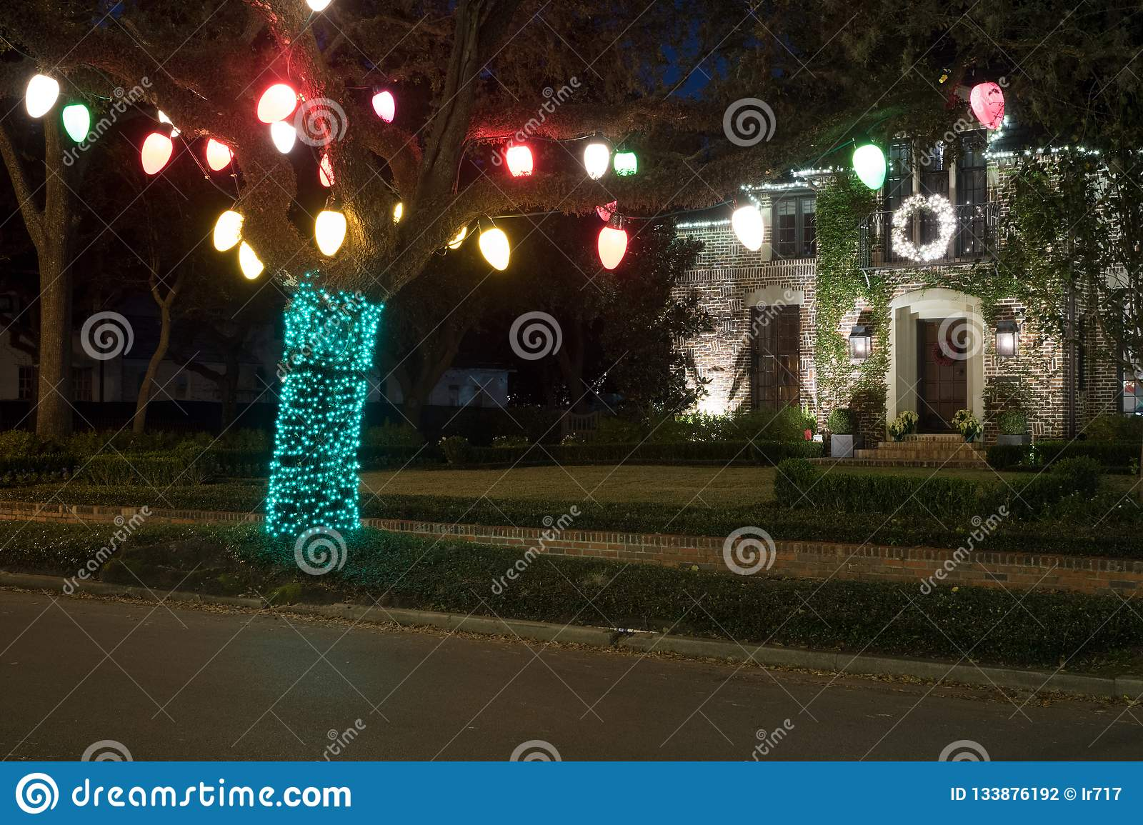 Kerstmisdecor op de boom De winter, Nacht, Houston, Texas, de V.S.