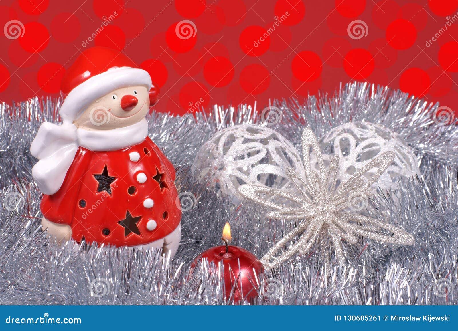 Kerstmisdecoratie, Santa Claus en kleurrijke gloed van licht