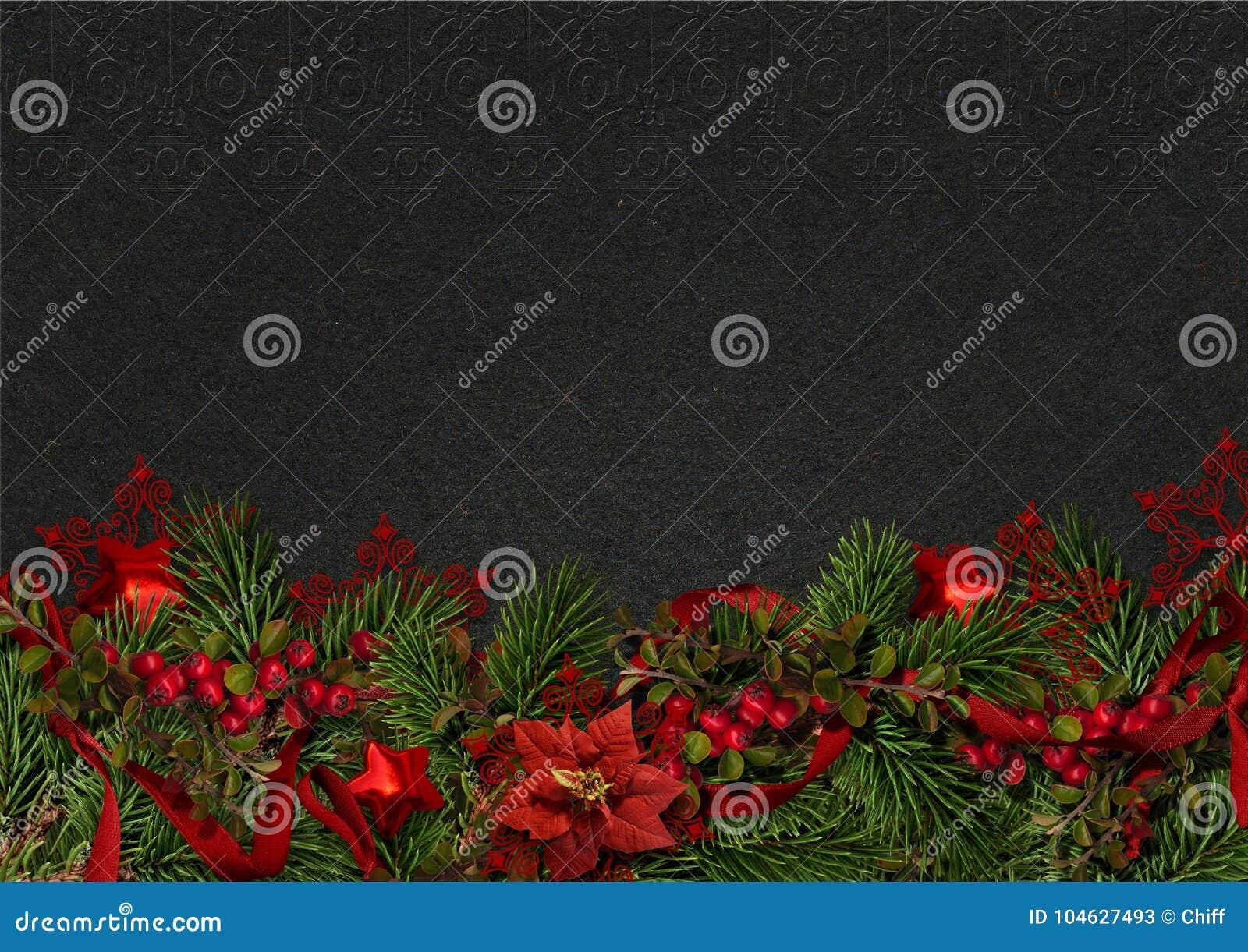 Download Kerstmisgrens Met Hulst En Poinsettia Op Een Donkere Achtergrond Stock Afbeelding - Afbeelding bestaande uit kegel, gelukwens: 104627493