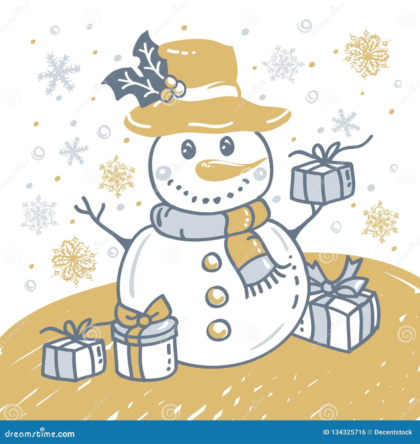 Kerstmishand getrokken kaart met Kerstmissneeuwman