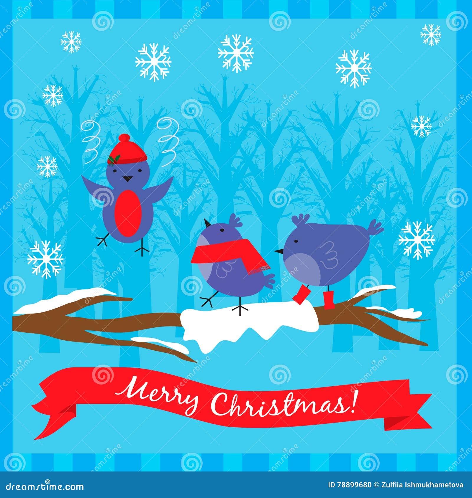 Kerstmisillustratie met leuke vogels op de boomtak