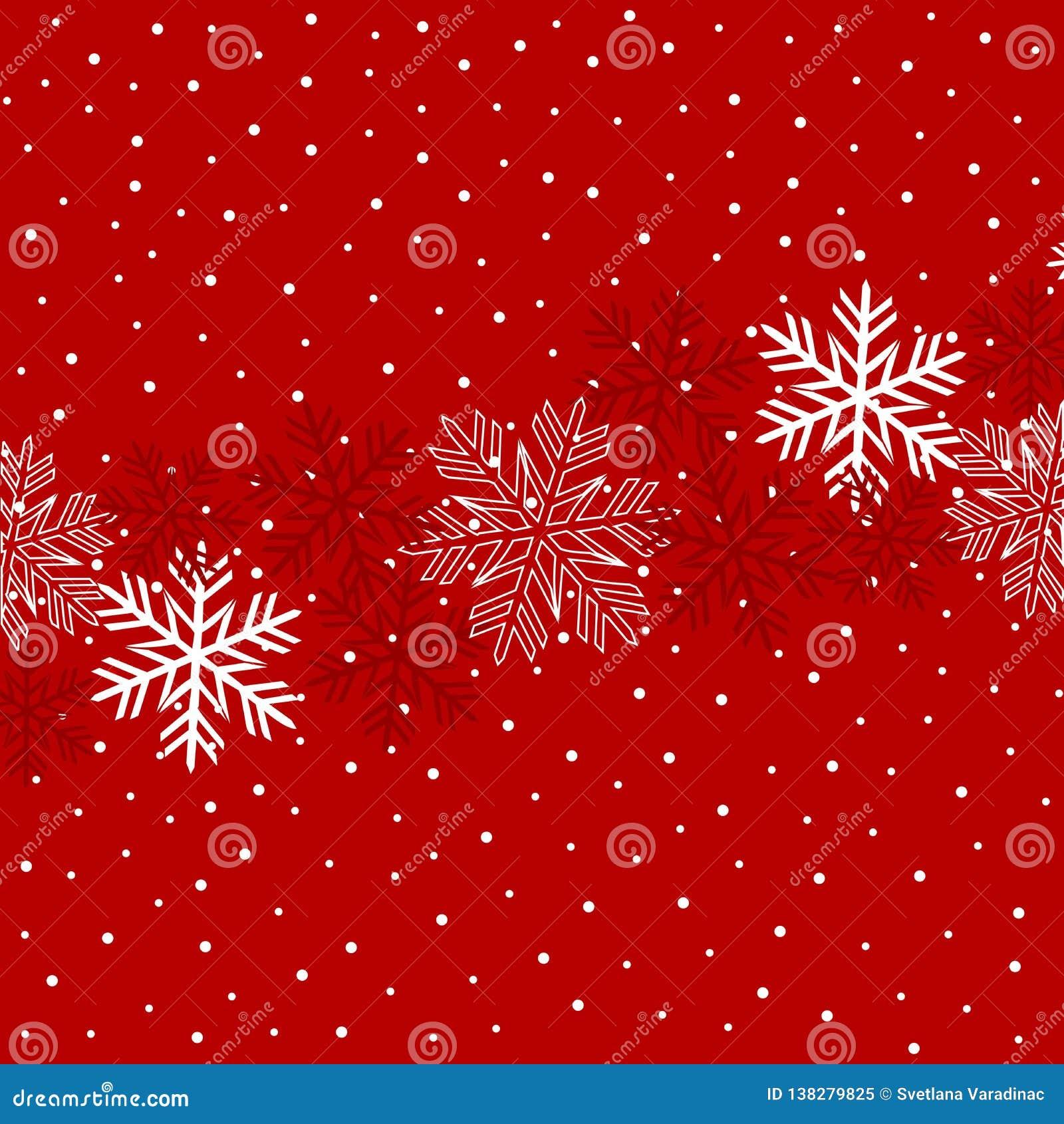 Kerstmisillustratie met sneeuwvlokken op donkerrode achtergrond in rode kleuren