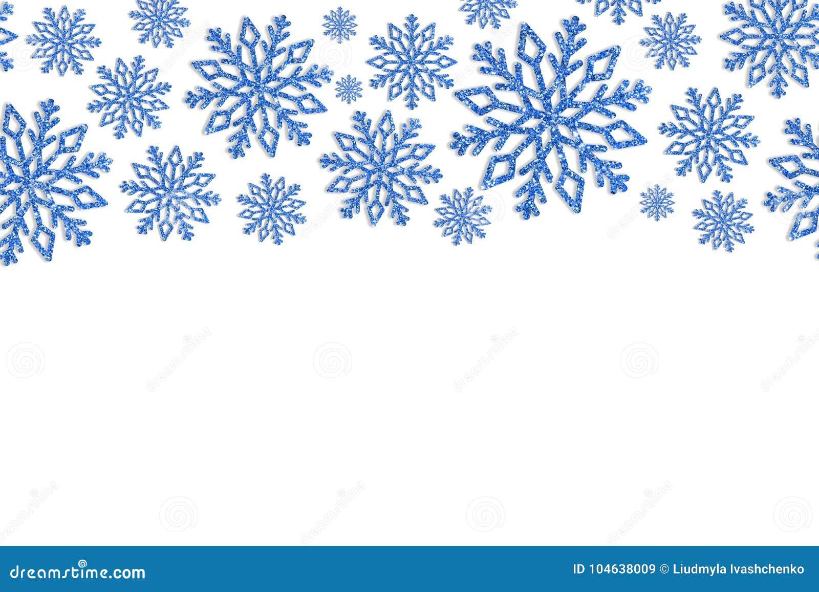 Download Kerstmiskader Met Blauwe Sneeuwvlokken Grens Van Lovertjeconfettien Stock Afbeelding - Afbeelding bestaande uit spatie, samenvatting: 104638009