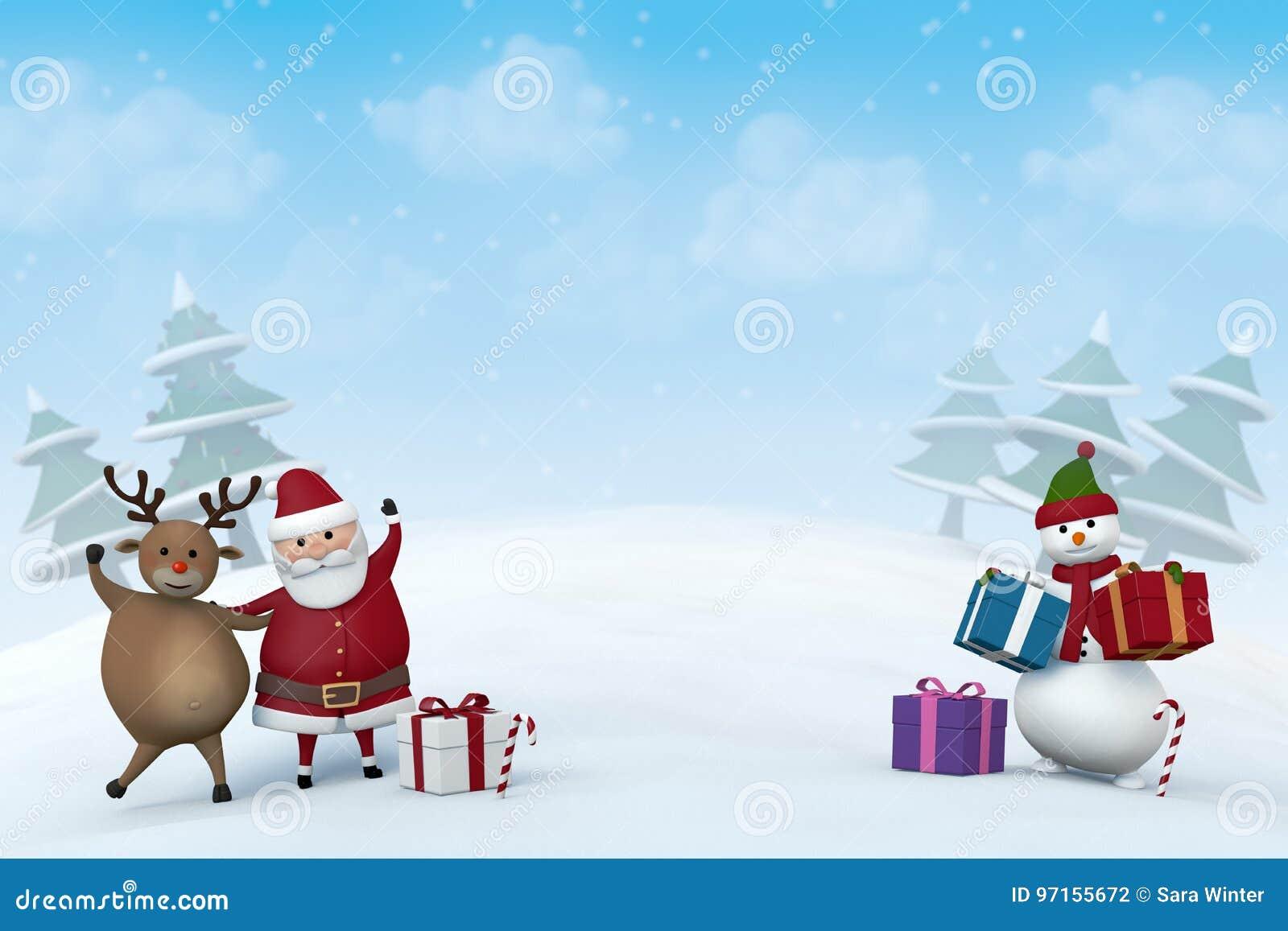 Kerstmiskarakters in een sneeuw de winterlandschap
