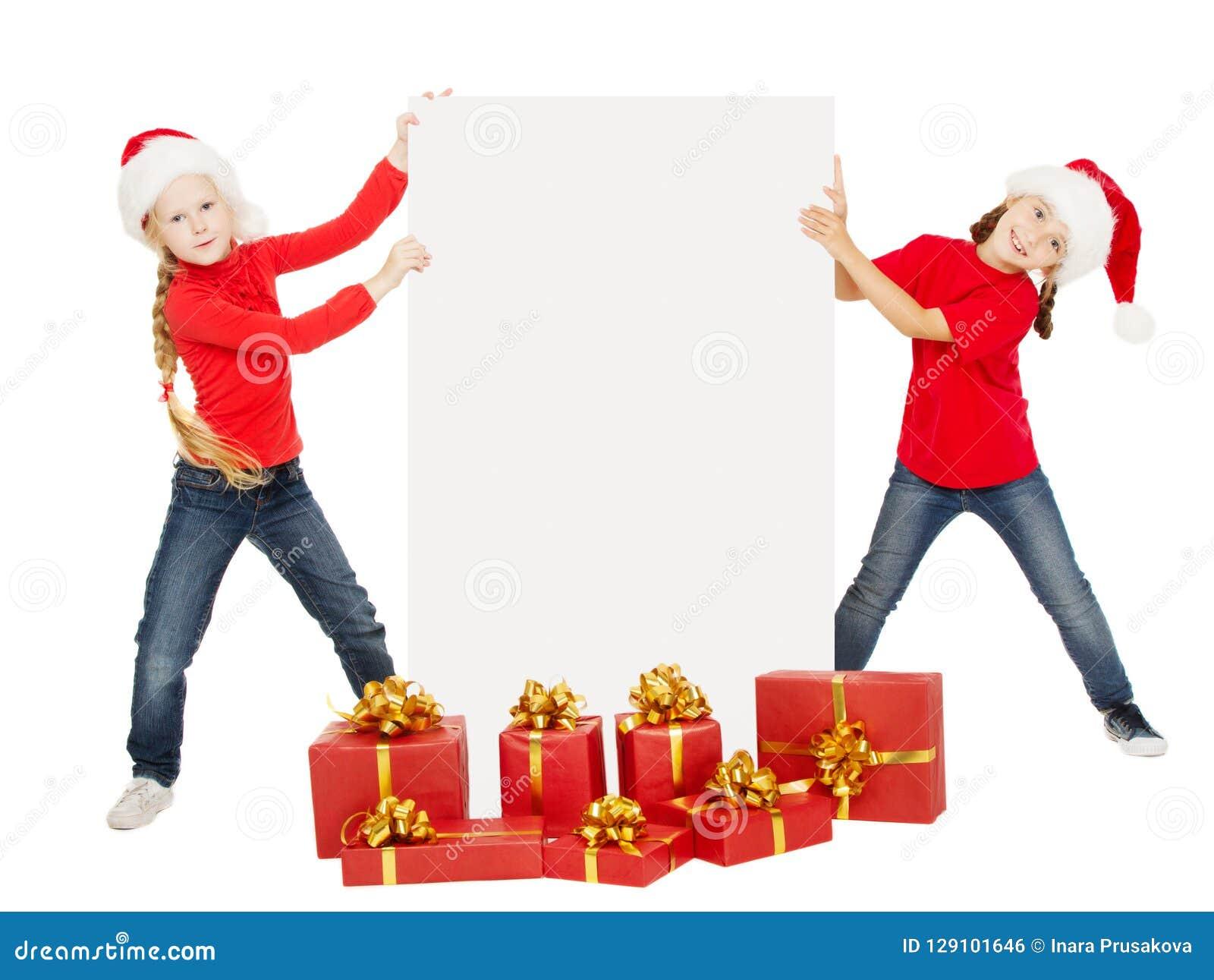 Kerstmiskinderen met Aanplakbordbanner over Wit, Jonge geitjes in Rood