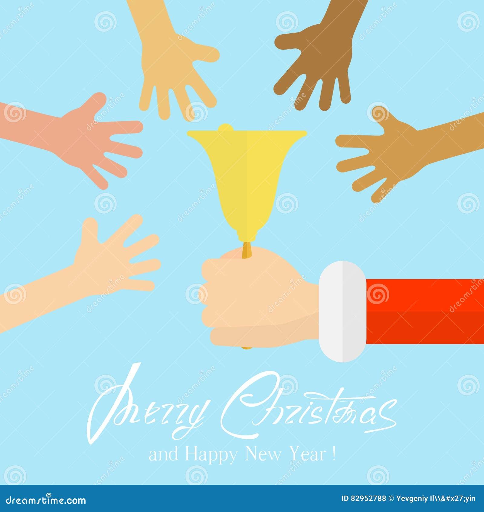 Kerstmisklok en handen