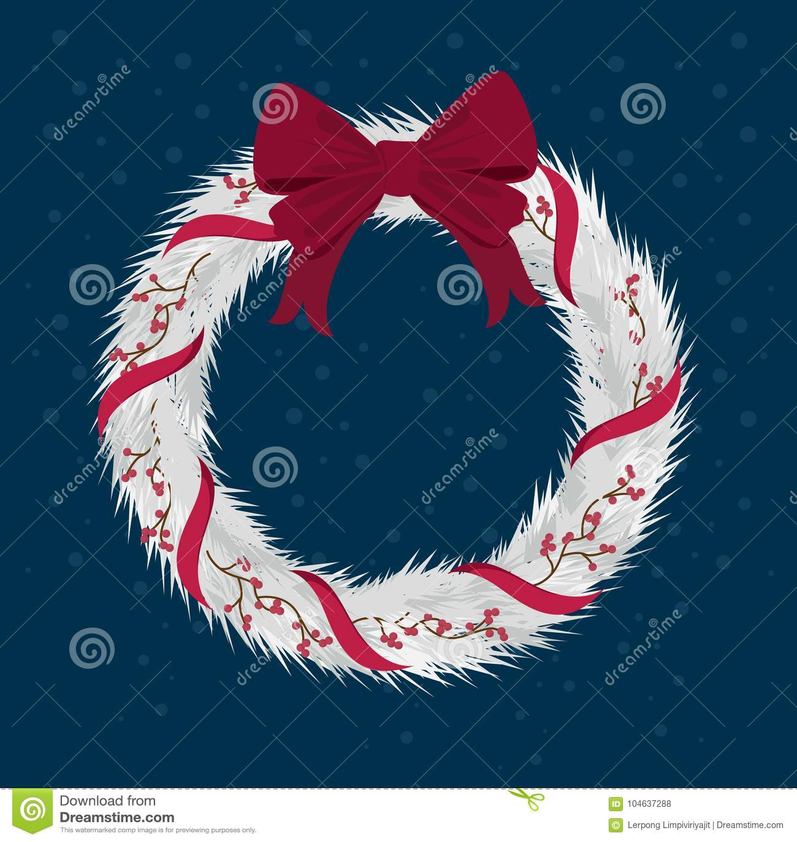 Download Kerstmiskroon Met Linten Met Rode Boog Vector Illustratie - Illustratie bestaande uit frame, ontwerp: 104637288