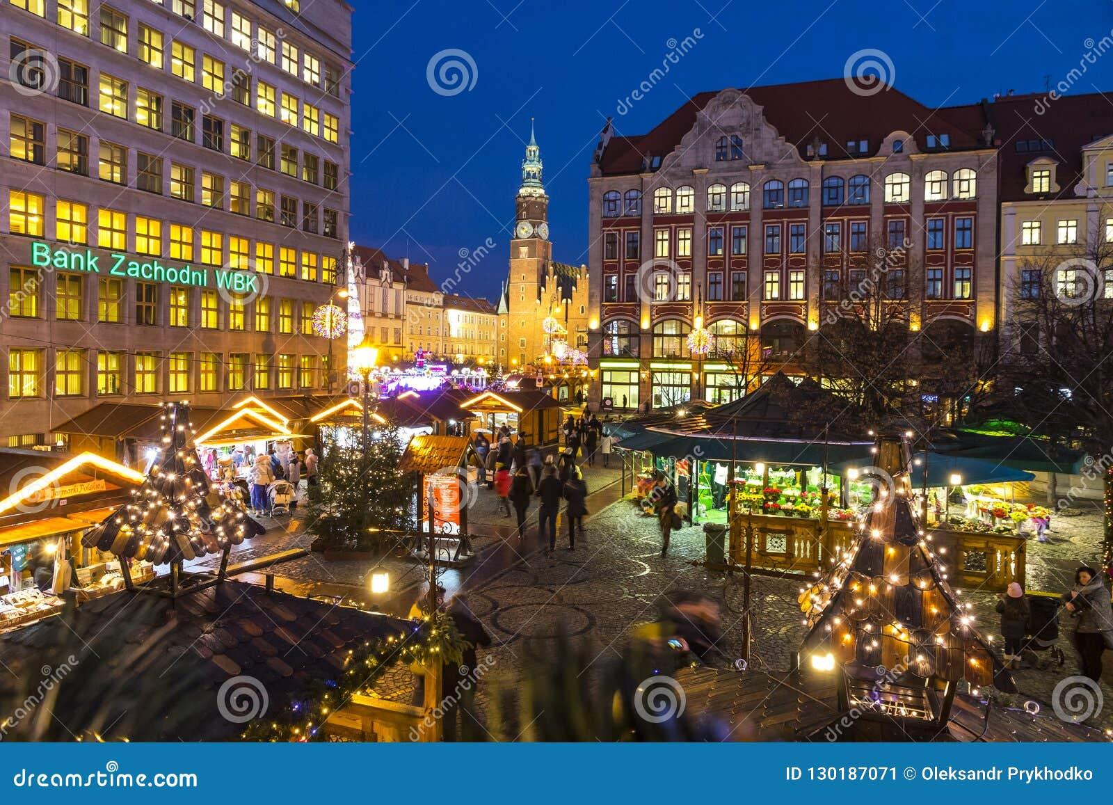 Kerstmismarkt in Wroclaw, Polen